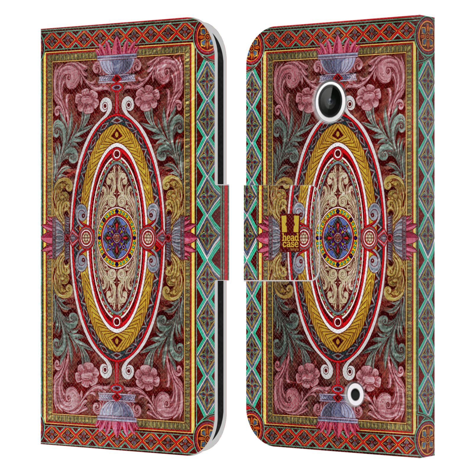 HEAD CASE Flipové pouzdro pro mobil NOKIA LUMIA 630 / LUMIA 630 DUAL ARABESKA Baroko červená