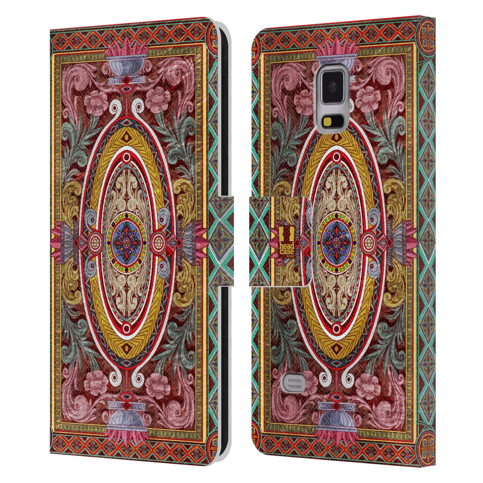 HEAD CASE Flipové pouzdro pro mobil Samsung Galaxy Note 4 ARABESKA Baroko červená