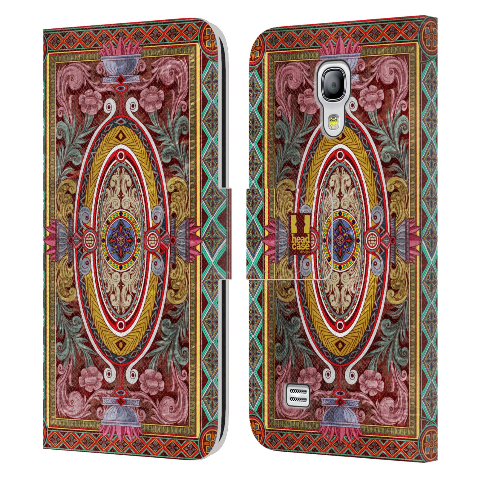 HEAD CASE Flipové pouzdro pro mobil Samsung Galaxy S4 MINI / S4 MINI DUOS ARABESKA Baroko červená