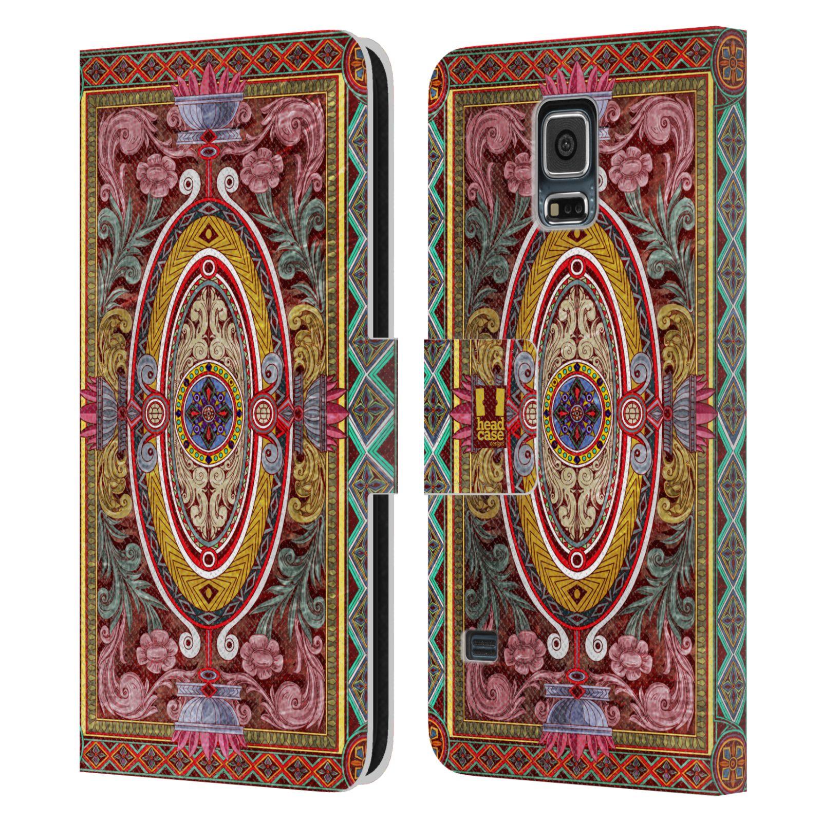 HEAD CASE Flipové pouzdro pro mobil Samsung Galaxy S5 / S5 NEO ARABESKA Baroko červená
