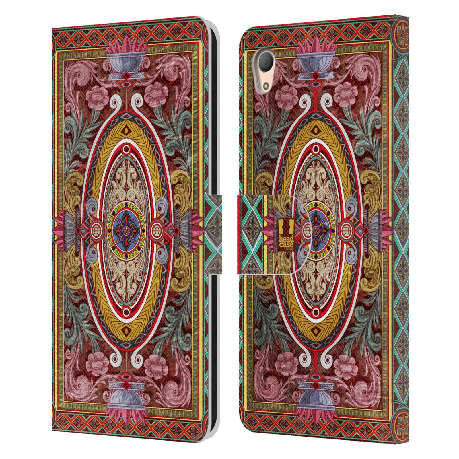 HEAD CASE Flipové pouzdro pro mobil SONY XPERIA Z3+ (PLUS) ARABESKA Baroko červená
