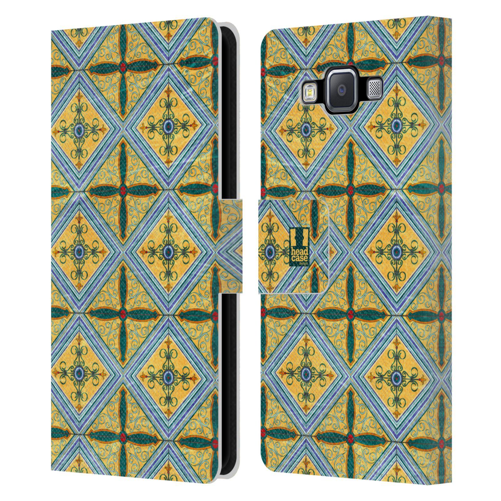 HEAD CASE Flipové pouzdro pro mobil Samsung Galaxy A5 ARABESKA CERAMIC žlutá