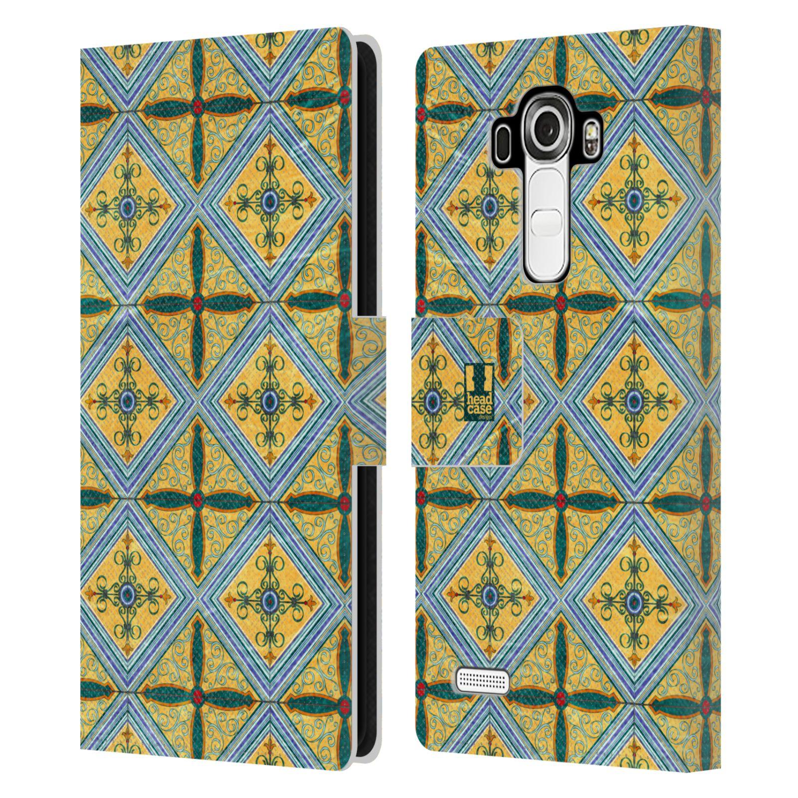 HEAD CASE Flipové pouzdro pro mobil LG G4 (H815) ARABESKA CERAMIC žlutá