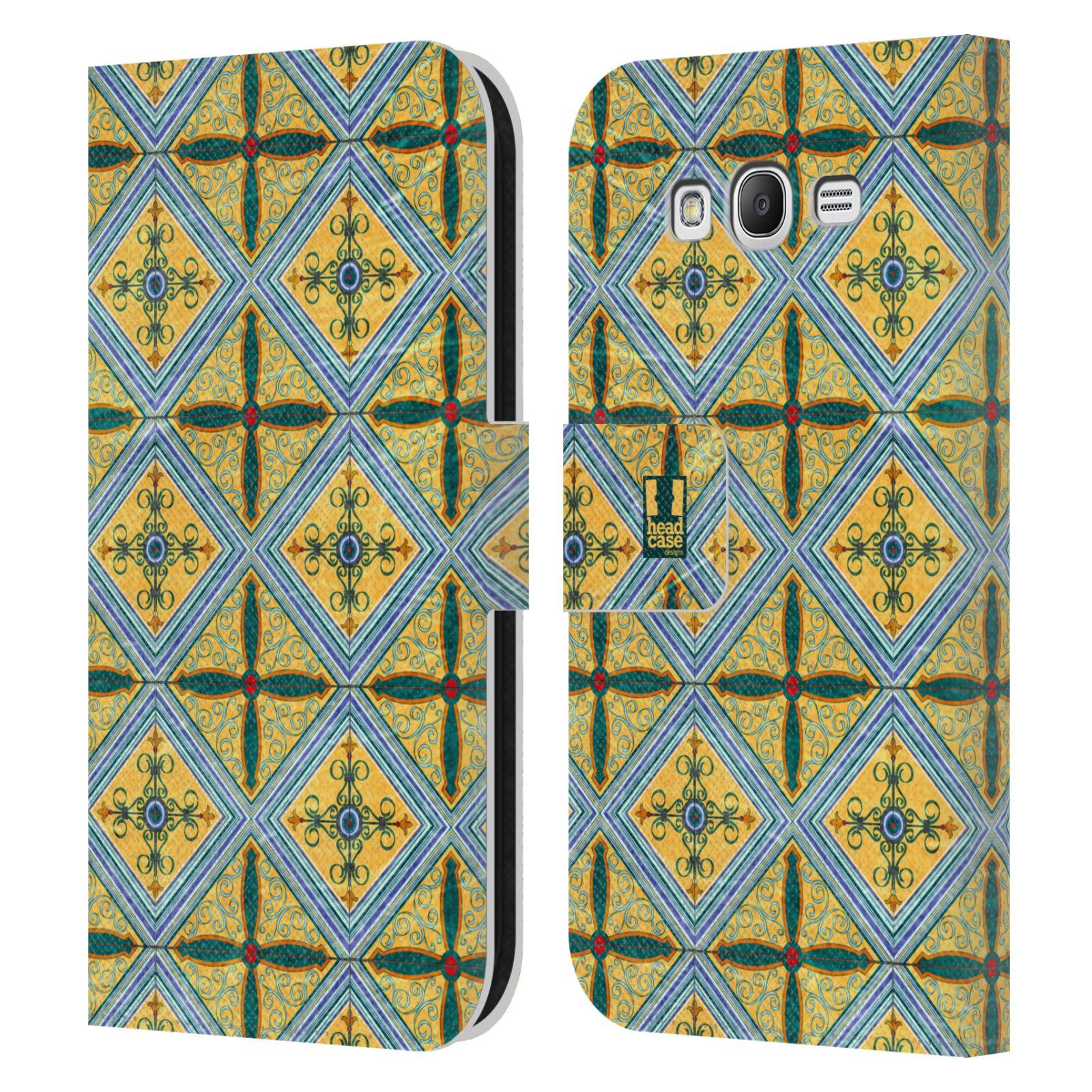 HEAD CASE Flipové pouzdro pro mobil Samsung Galaxy Grand i9080 ARABESKA CERAMIC žlutá