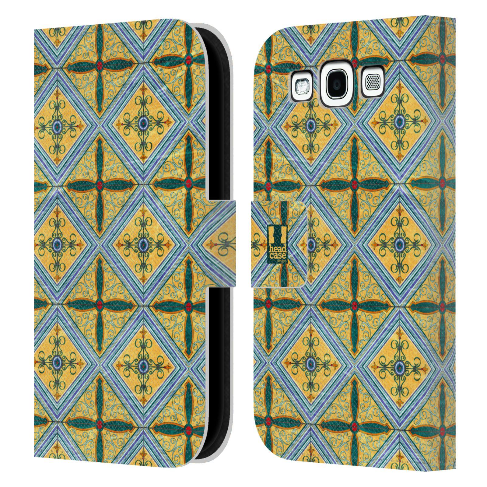 HEAD CASE Flipové pouzdro pro mobil Samsung Galaxy S3 ARABESKA CERAMIC žlutá