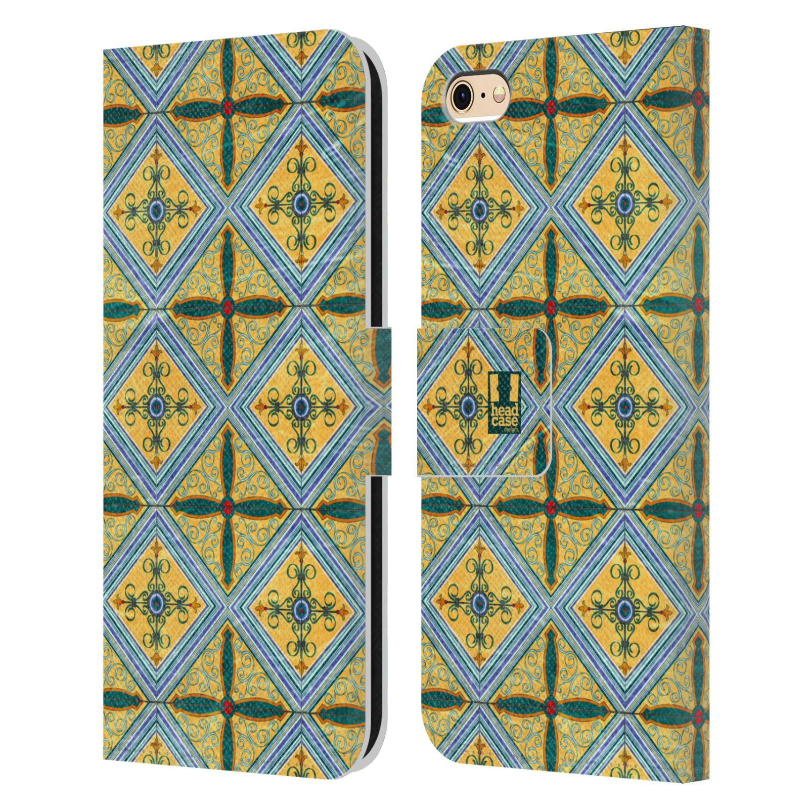 HEAD CASE Flipové pouzdro pro mobil Apple Iphone 6/6s ARABESKA CERAMIC žlutá