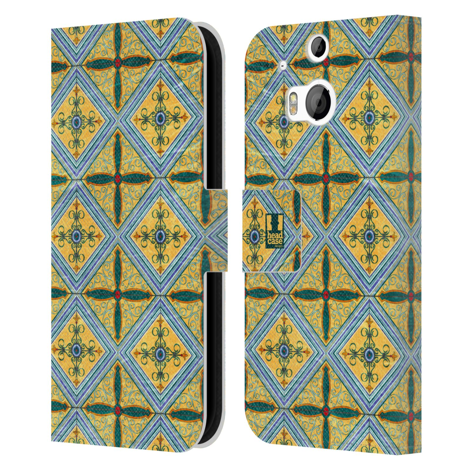 HEAD CASE Flipové pouzdro pro mobil HTC ONE (M8, M8s) ARABESKA CERAMIC žlutá