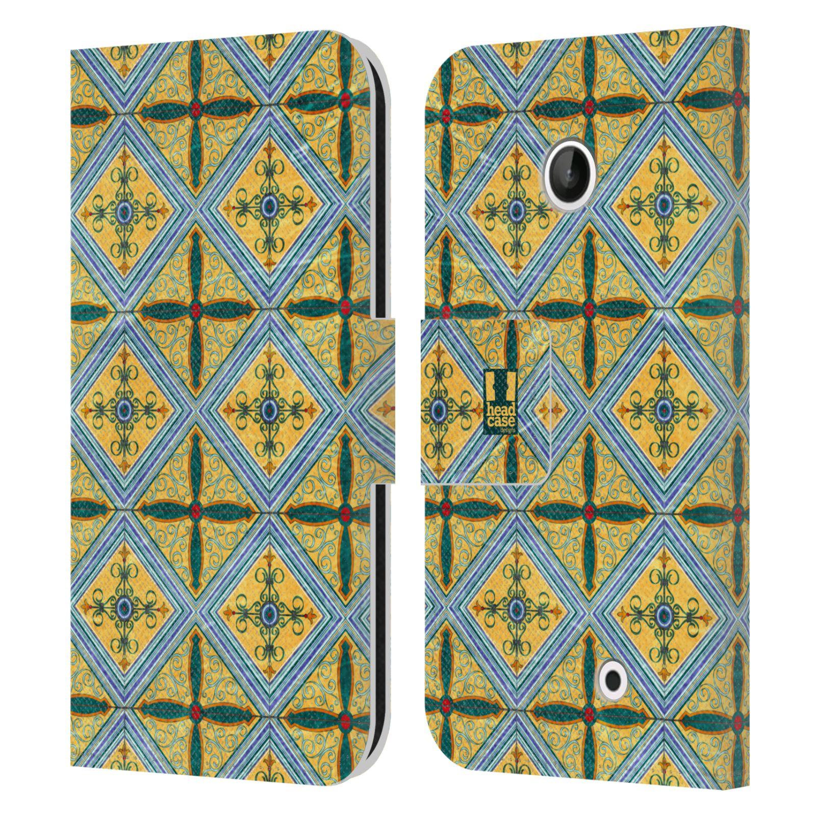 HEAD CASE Flipové pouzdro pro mobil NOKIA LUMIA 630 / LUMIA 630 DUAL ARABESKA CERAMIC žlutá