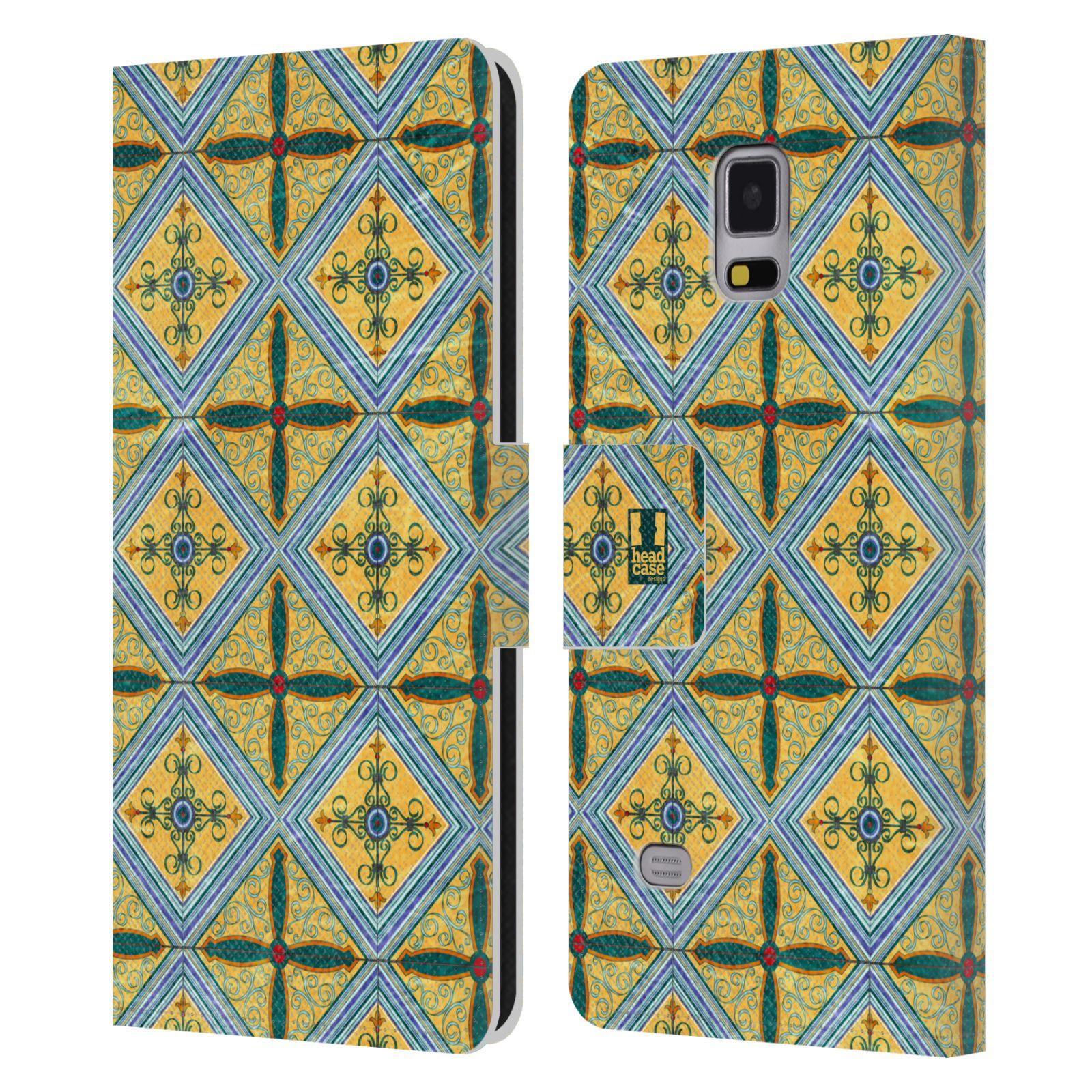 HEAD CASE Flipové pouzdro pro mobil Samsung Galaxy Note 4 ARABESKA CERAMIC žlutá