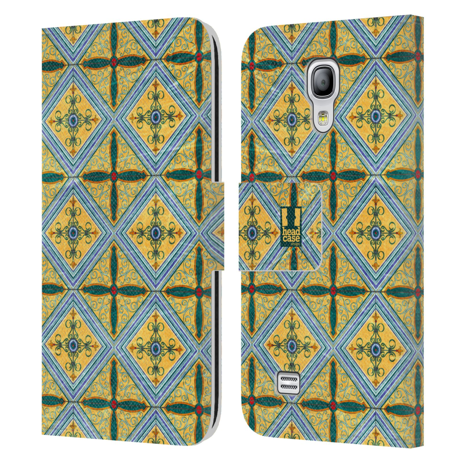 HEAD CASE Flipové pouzdro pro mobil Samsung Galaxy S4 MINI / S4 MINI DUOS ARABESKA CERAMIC žlutá