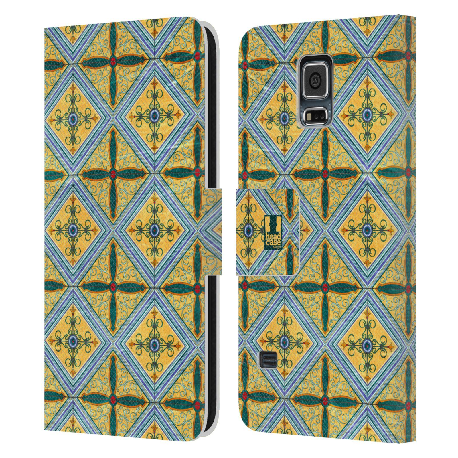 HEAD CASE Flipové pouzdro pro mobil Samsung Galaxy S5 / S5 NEO ARABESKA CERAMIC žlutá