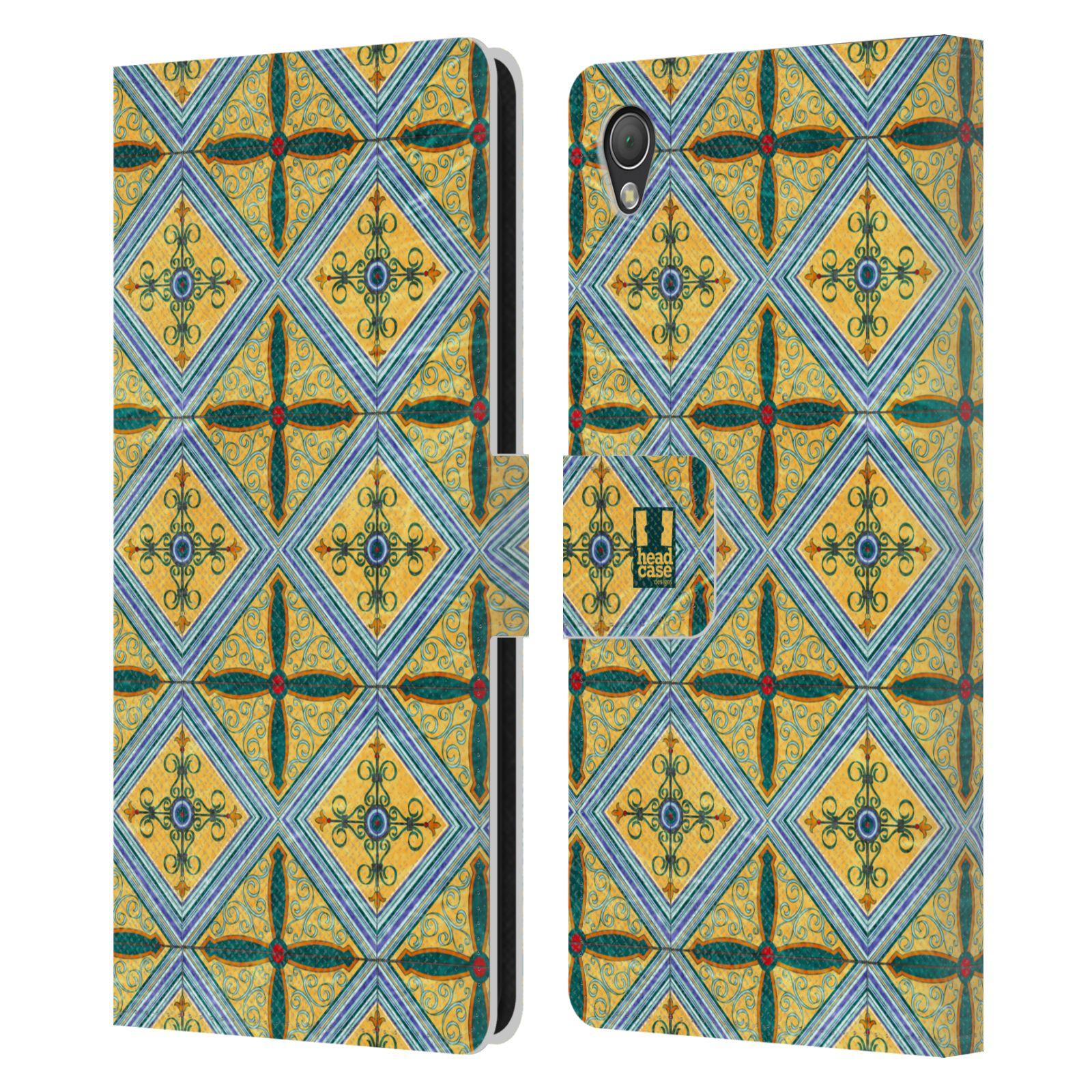 HEAD CASE Flipové pouzdro pro mobil SONY XPERIA Z3 ARABESKA CERAMIC žlutá