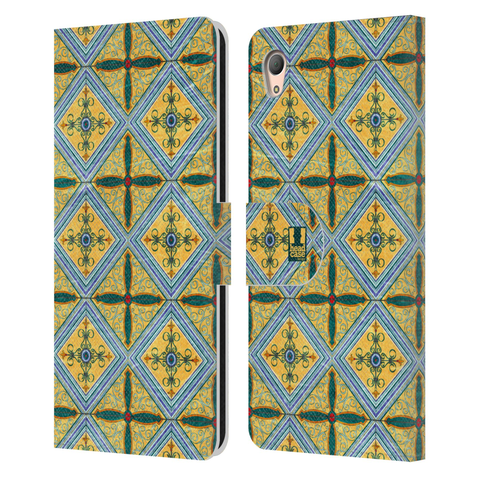 HEAD CASE Flipové pouzdro pro mobil SONY XPERIA Z3+ (PLUS) ARABESKA CERAMIC žlutá