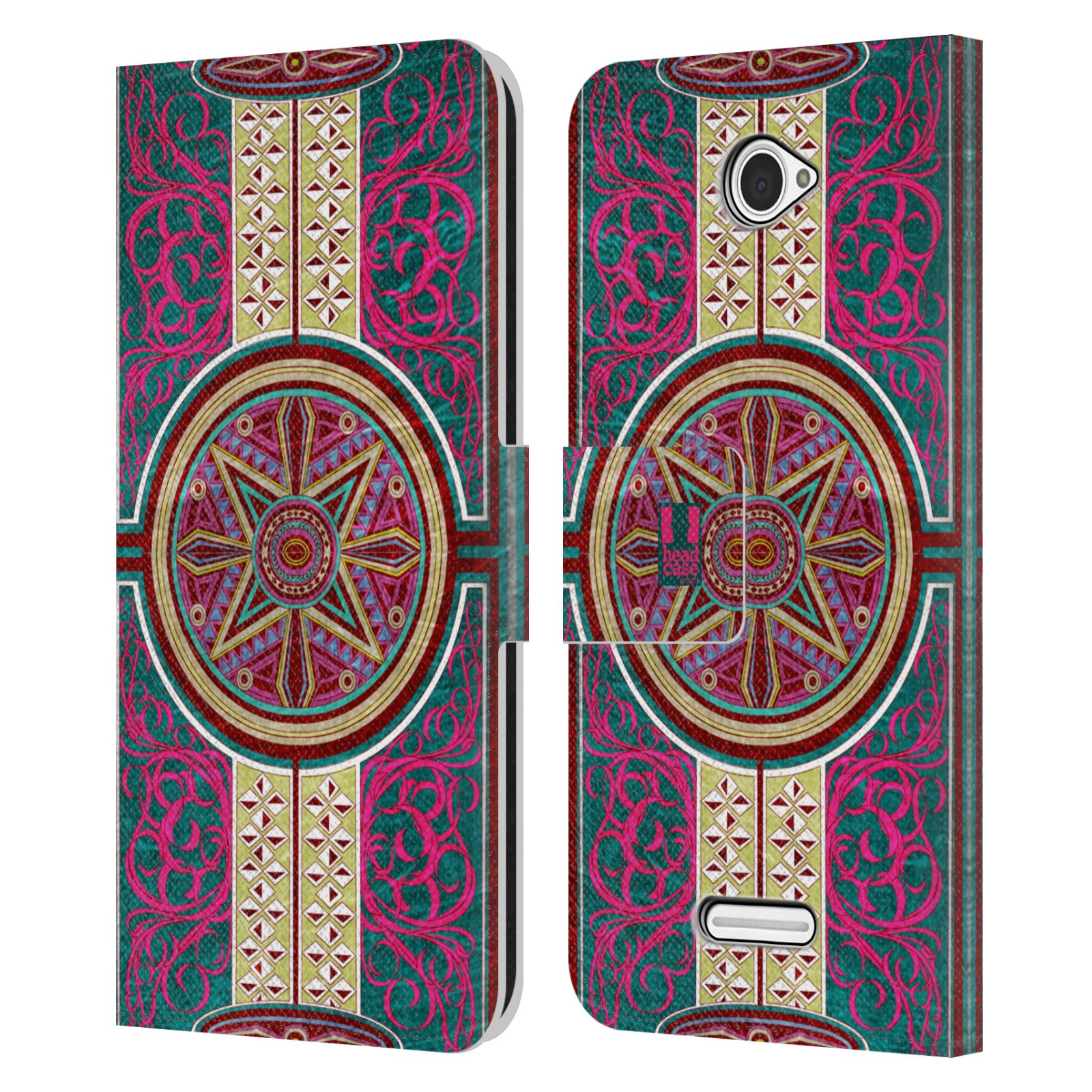 HEAD CASE Flipové pouzdro pro mobil SONY XPERIA E4 ARABESKA Baroko rudá kruh
