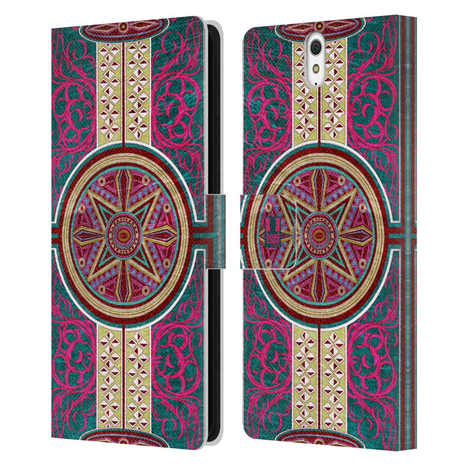 HEAD CASE Flipové pouzdro pro mobil SONY XPERIA C5 Ultra ARABESKA Baroko rudá kruh