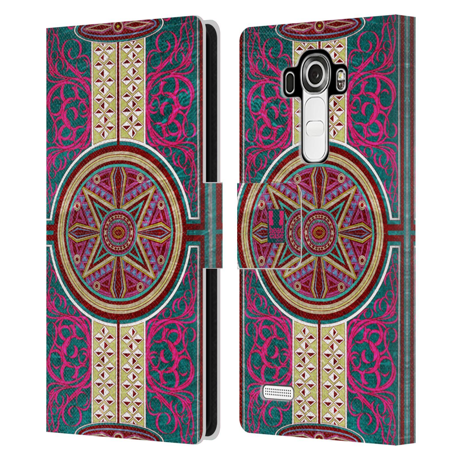 HEAD CASE Flipové pouzdro pro mobil LG G4 (H815) ARABESKA Baroko rudá kruh