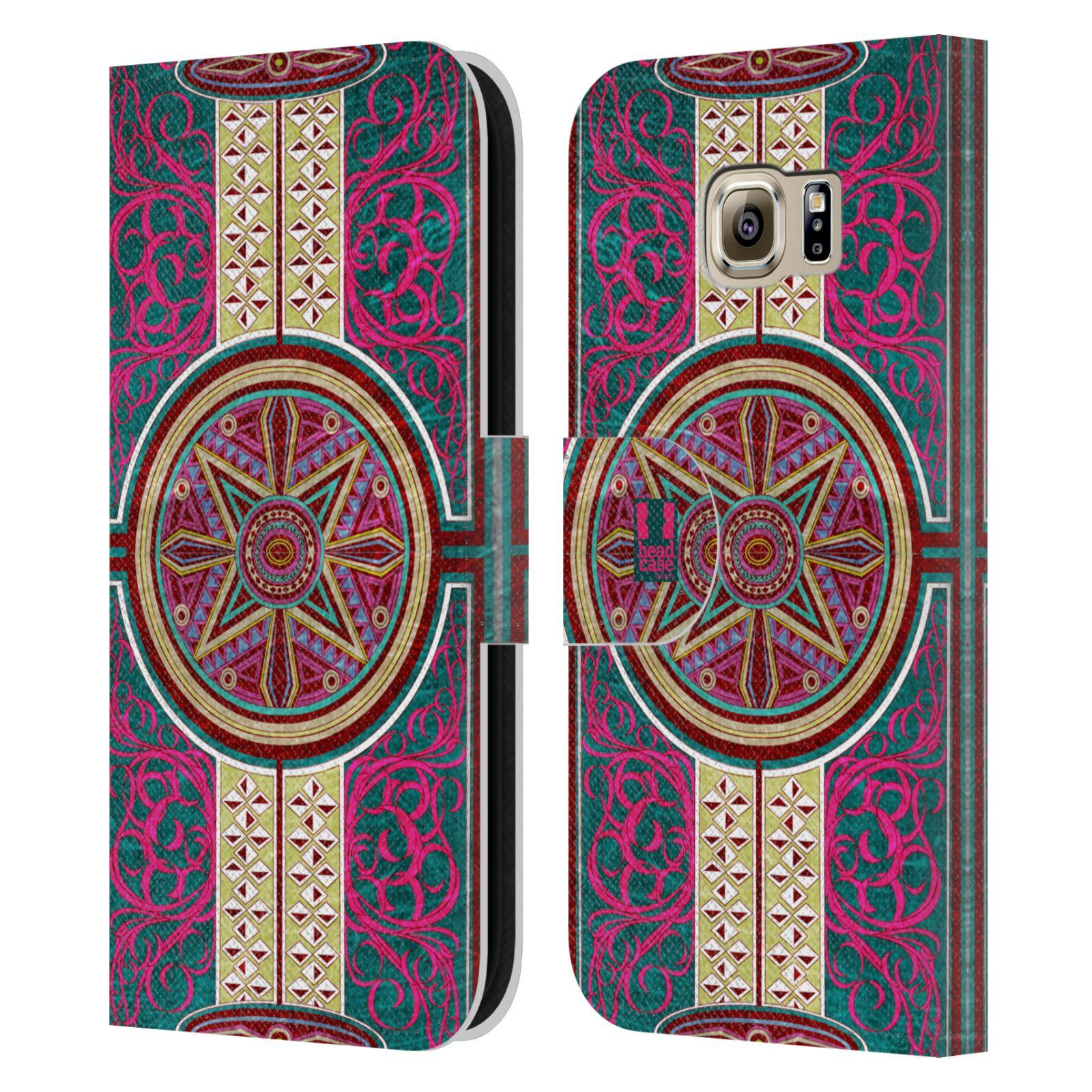HEAD CASE Flipové pouzdro pro mobil Samsung Galaxy S6 (G9200) ARABESKA Baroko rudá kruh