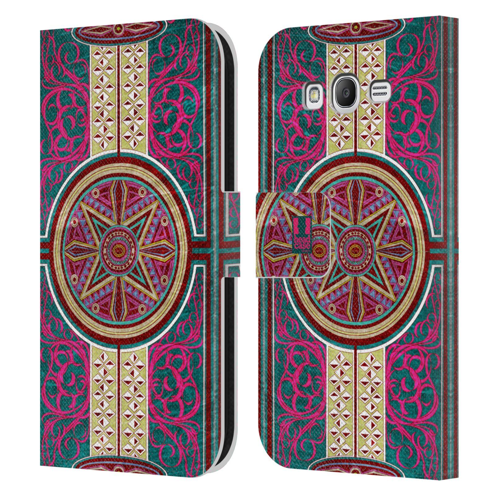 HEAD CASE Flipové pouzdro pro mobil Samsung Galaxy Grand i9080 ARABESKA Baroko rudá kruh