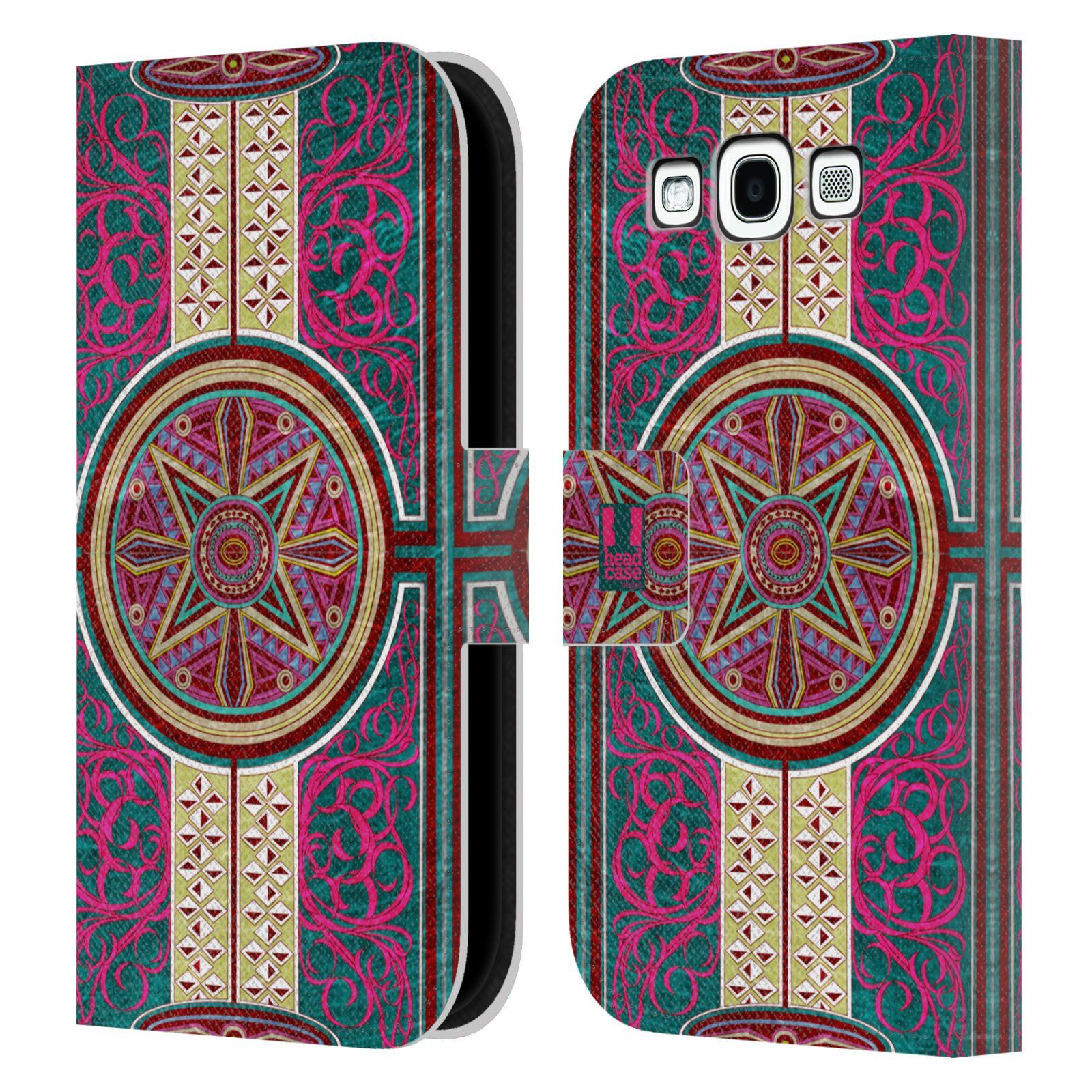 HEAD CASE Flipové pouzdro pro mobil Samsung Galaxy S3 ARABESKA Baroko rudá kruh