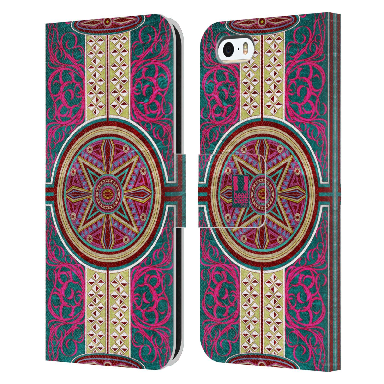 HEAD CASE Flipové pouzdro pro mobil Apple Iphone 5/5s ARABESKA Baroko rudá kruh