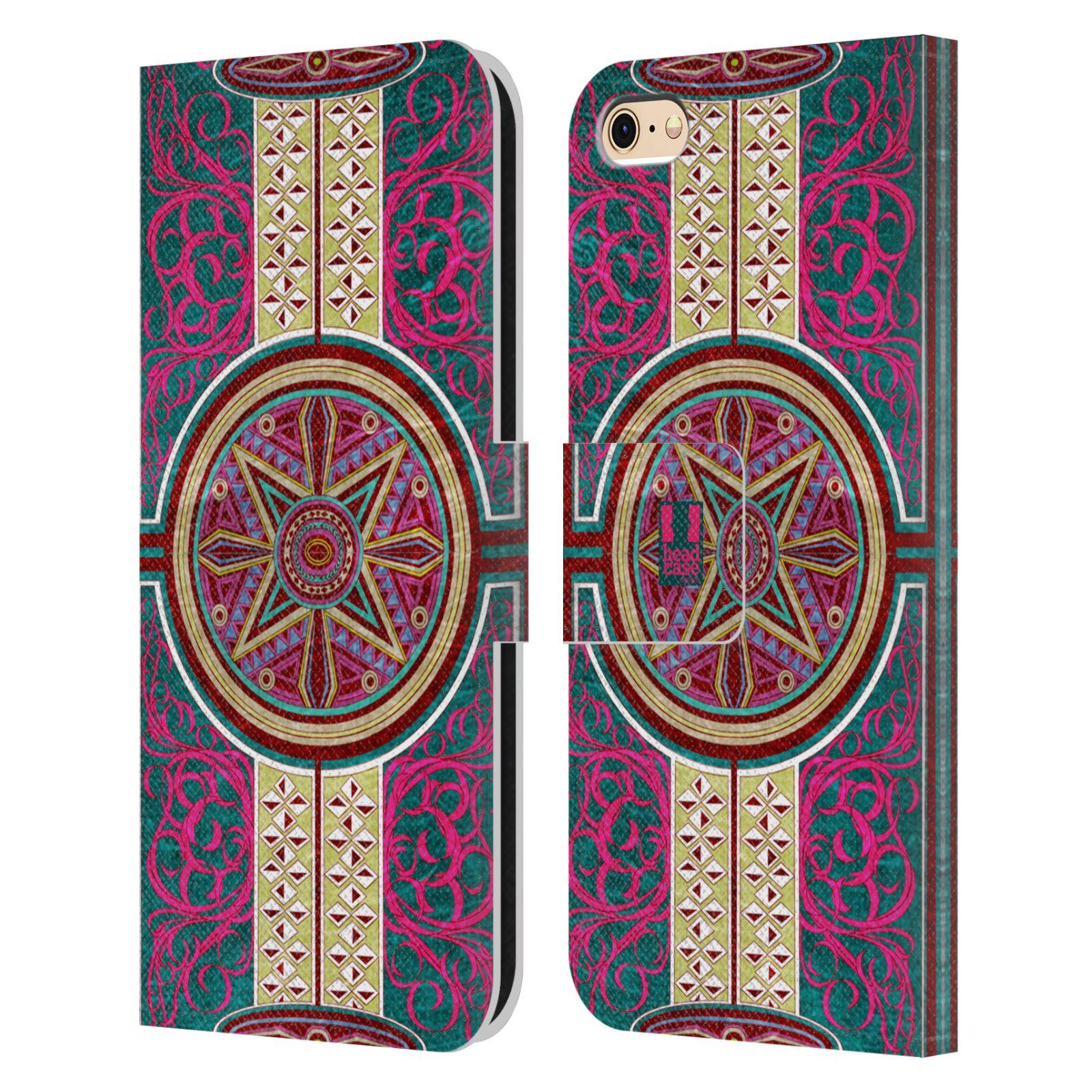 HEAD CASE Flipové pouzdro pro mobil Apple Iphone 6/6s ARABESKA Baroko rudá kruh