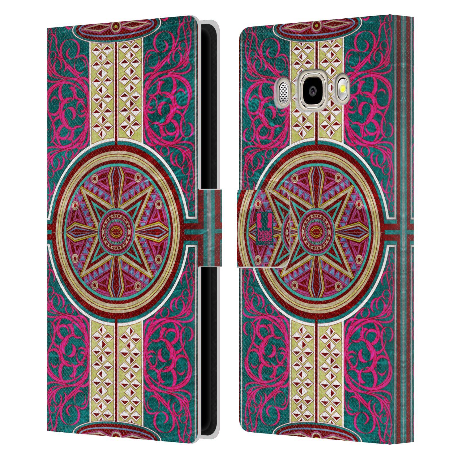 HEAD CASE Flipové pouzdro pro mobil Samsung Galaxy J5 2016 ARABESKA Baroko rudá kruh