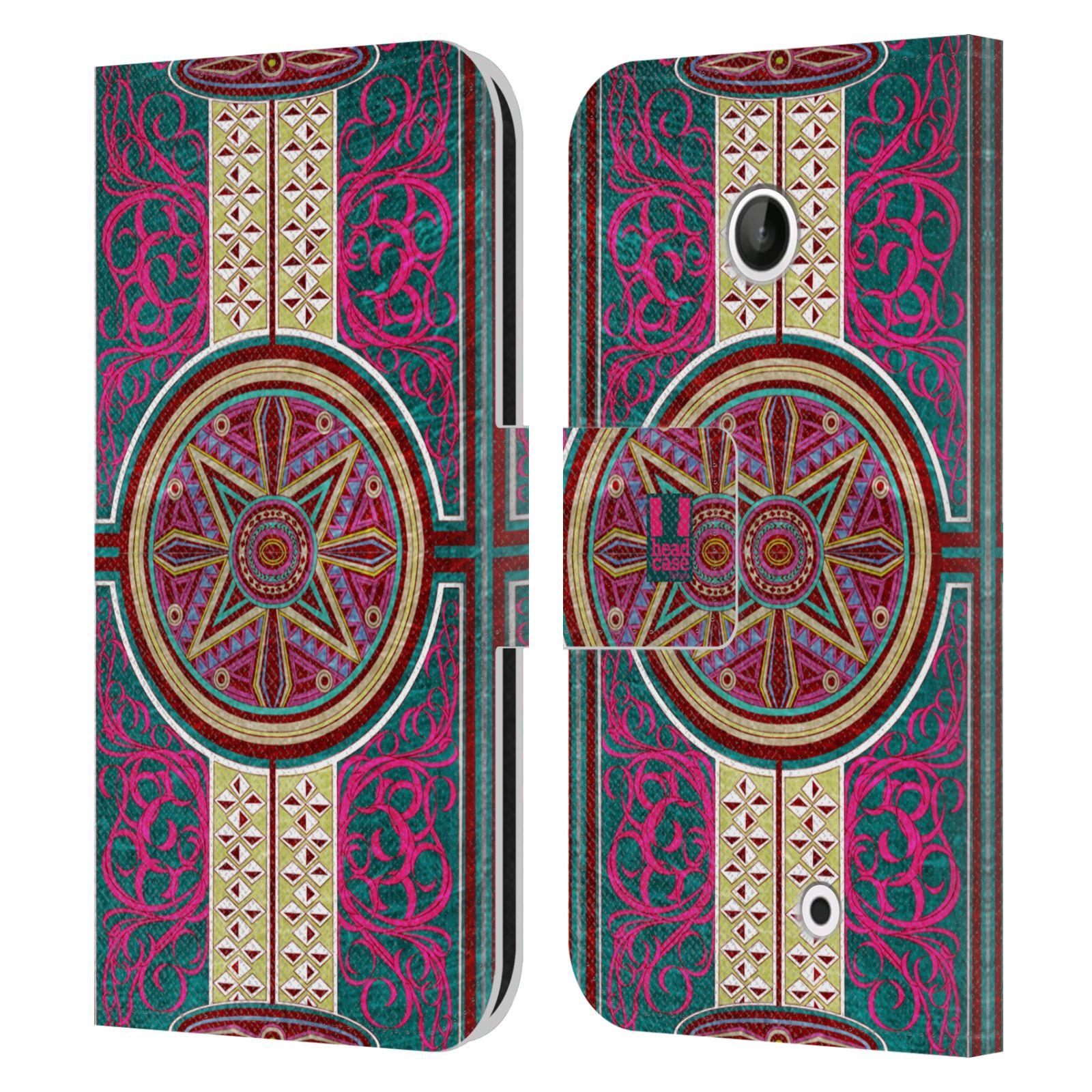 HEAD CASE Flipové pouzdro pro mobil NOKIA LUMIA 630 / LUMIA 630 DUAL ARABESKA Baroko rudá kruh