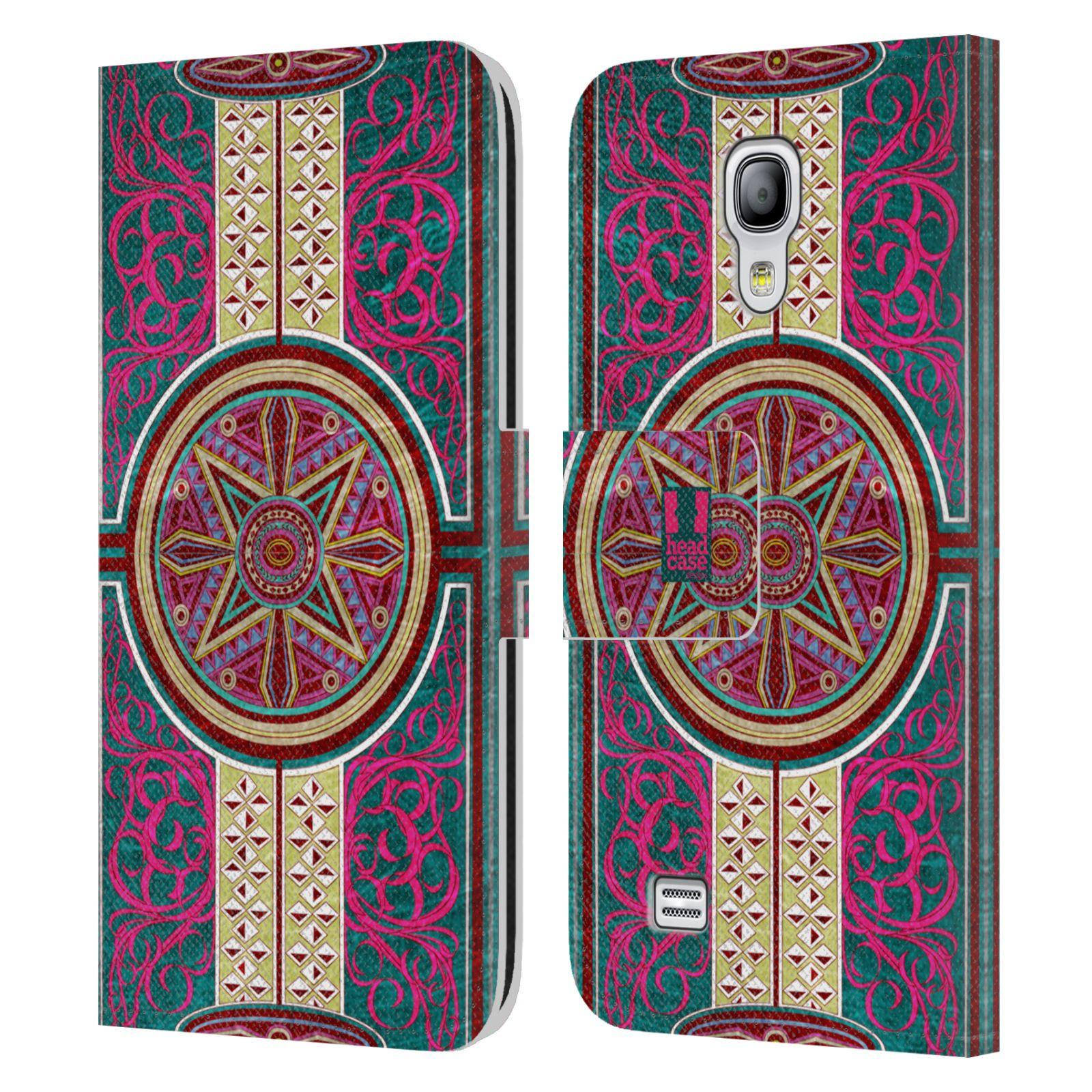 HEAD CASE Flipové pouzdro pro mobil Samsung Galaxy S4 MINI / S4 MINI DUOS ARABESKA Baroko rudá kruh