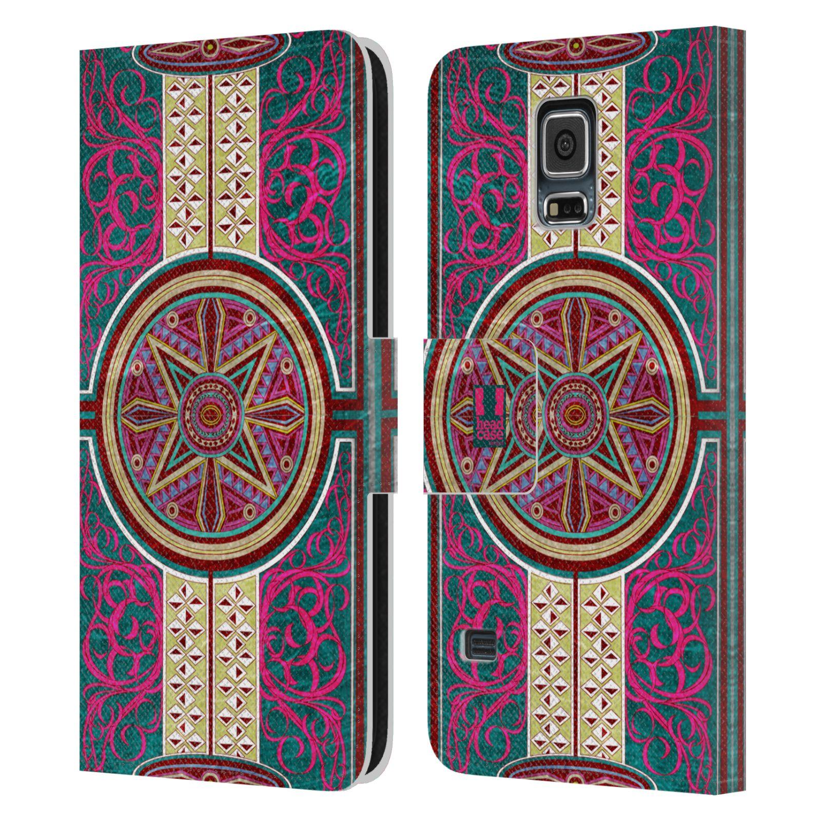 HEAD CASE Flipové pouzdro pro mobil Samsung Galaxy S5 / S5 NEO ARABESKA Baroko rudá kruh
