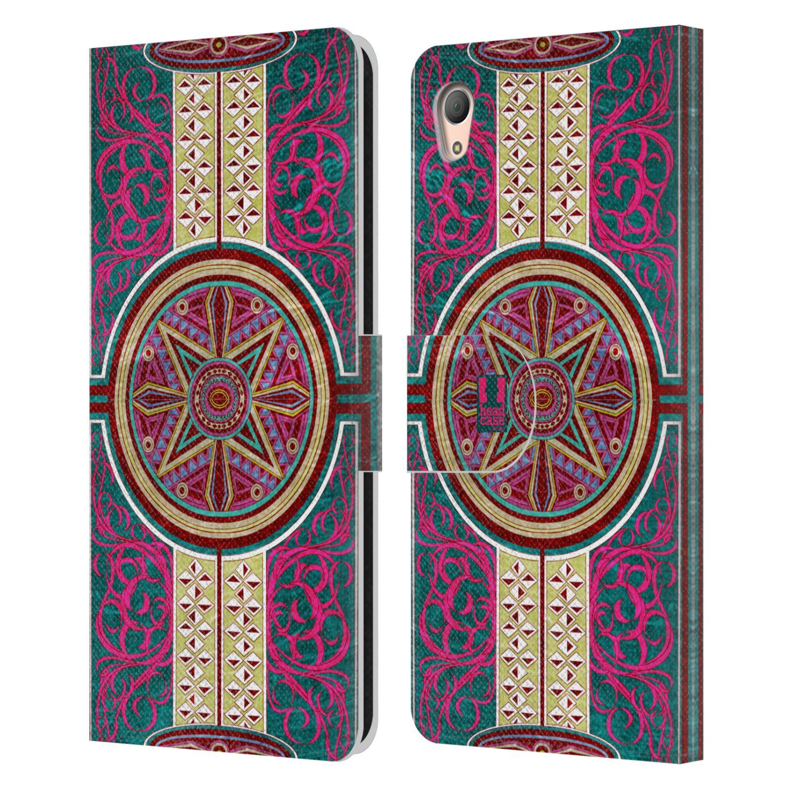HEAD CASE Flipové pouzdro pro mobil SONY XPERIA Z3+ (PLUS) ARABESKA Baroko rudá kruh
