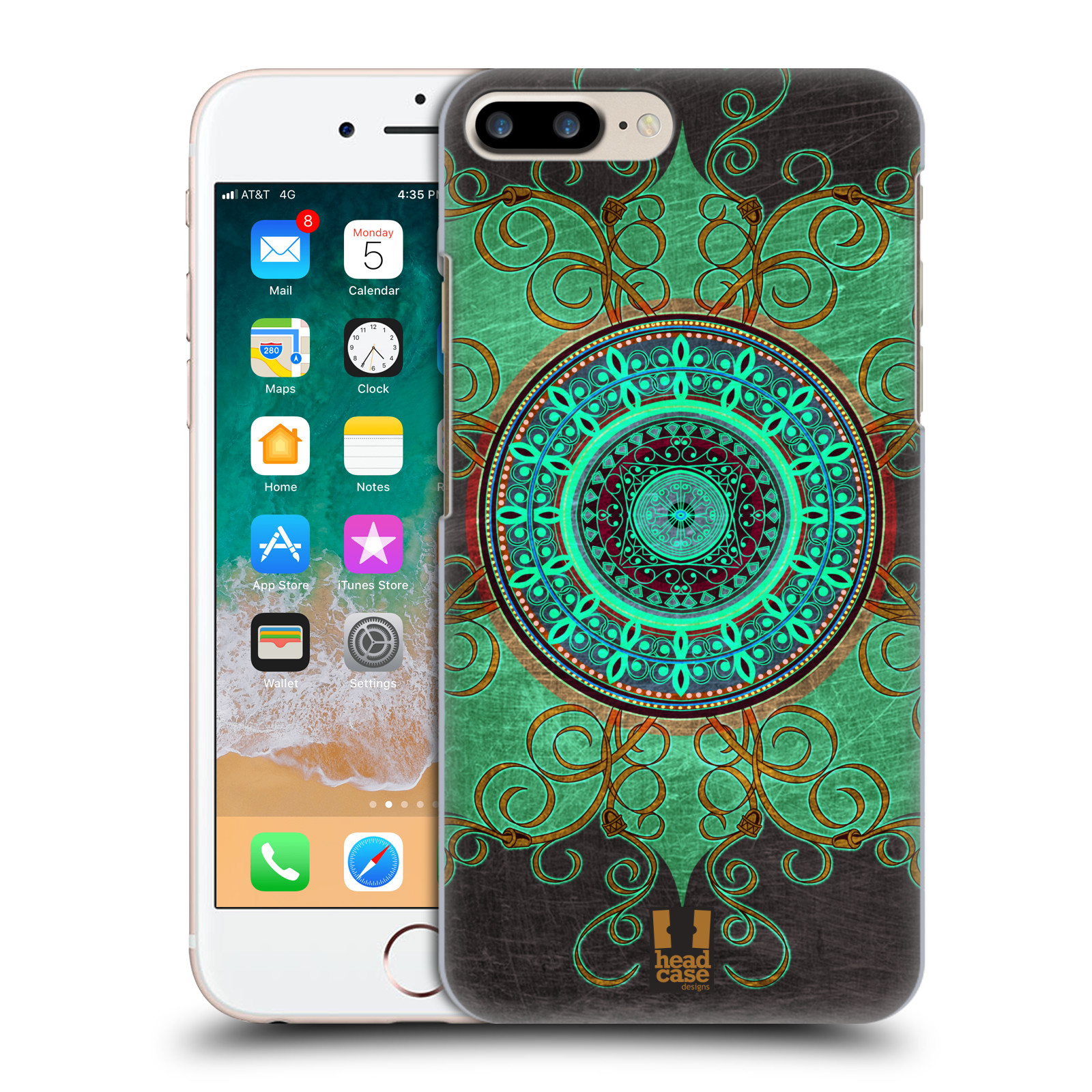 HEAD CASE plastový obal na mobil Apple Iphone 7 PLUS vzor ARABESKA MANDALA ZELENÁ