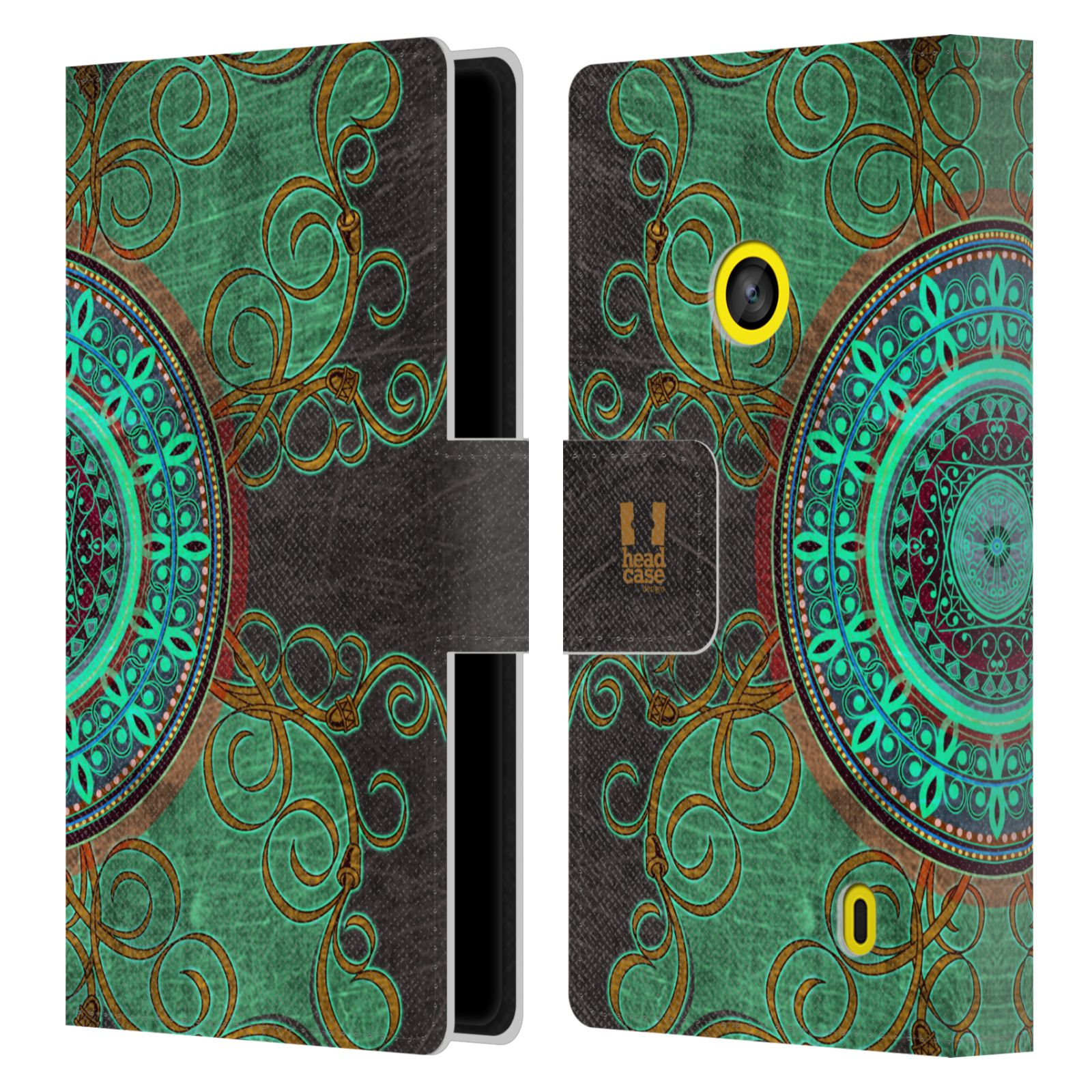 HEAD CASE Flipové pouzdro pro mobil NOKIA LUMIA 520 / 525 ARABESKA mandala zelená