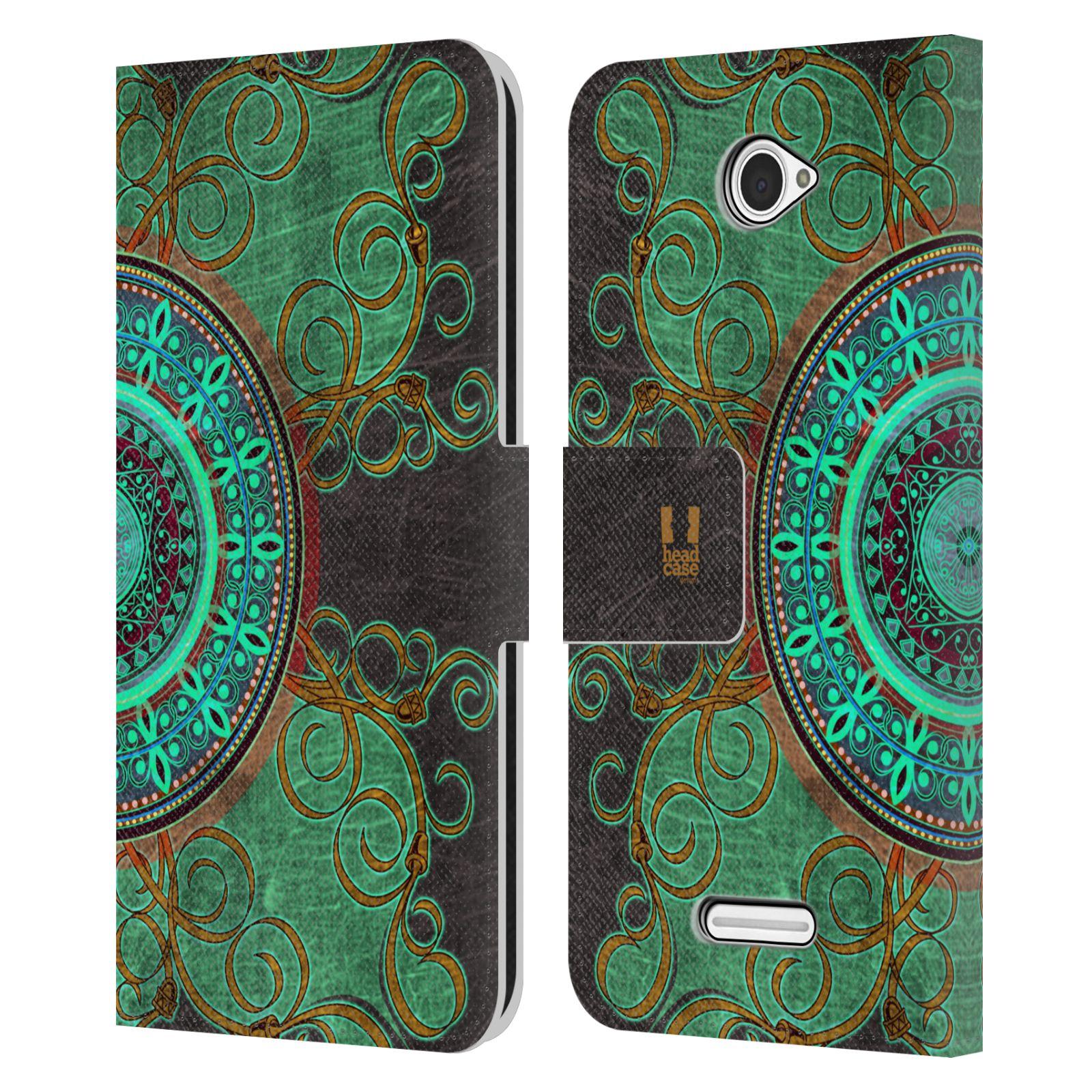 HEAD CASE Flipové pouzdro pro mobil SONY XPERIA E4 ARABESKA mandala zelená
