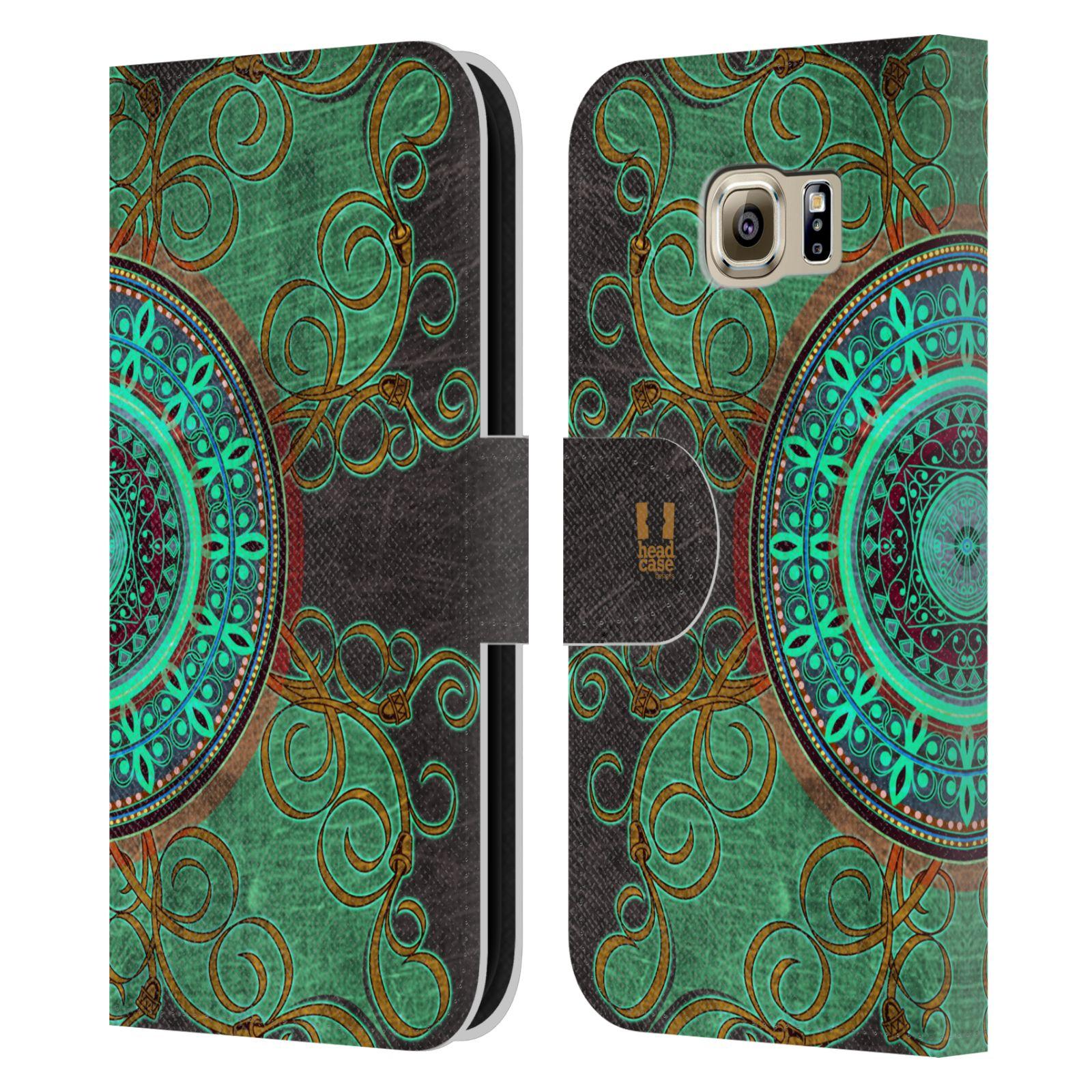 HEAD CASE Flipové pouzdro pro mobil Samsung Galaxy S6 (G9200) ARABESKA mandala zelená