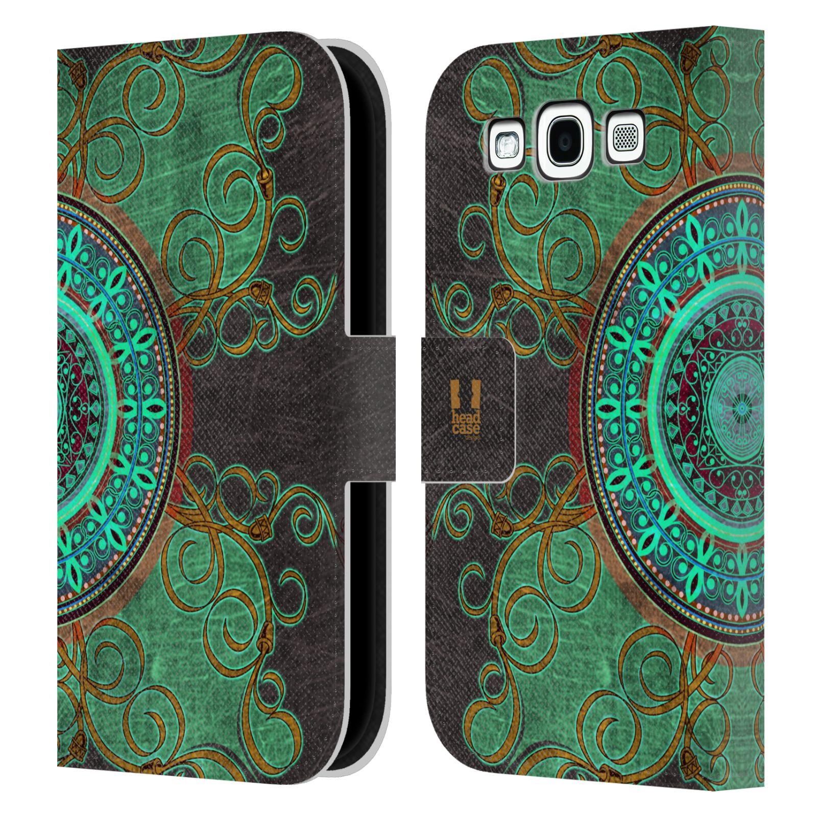 HEAD CASE Flipové pouzdro pro mobil Samsung Galaxy S3 ARABESKA mandala zelená