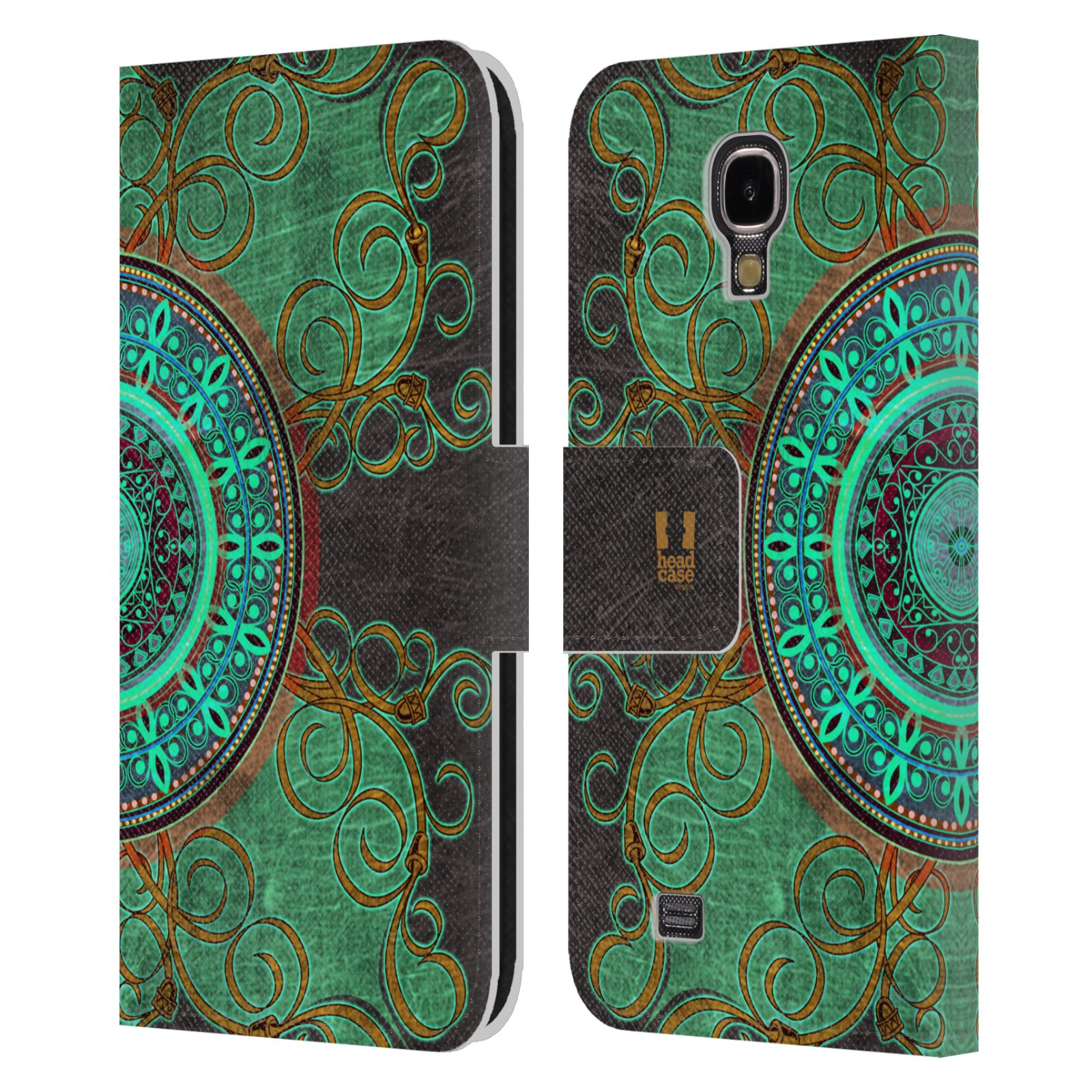 HEAD CASE Flipové pouzdro pro mobil Samsung Galaxy S4 ARABESKA mandala zelená