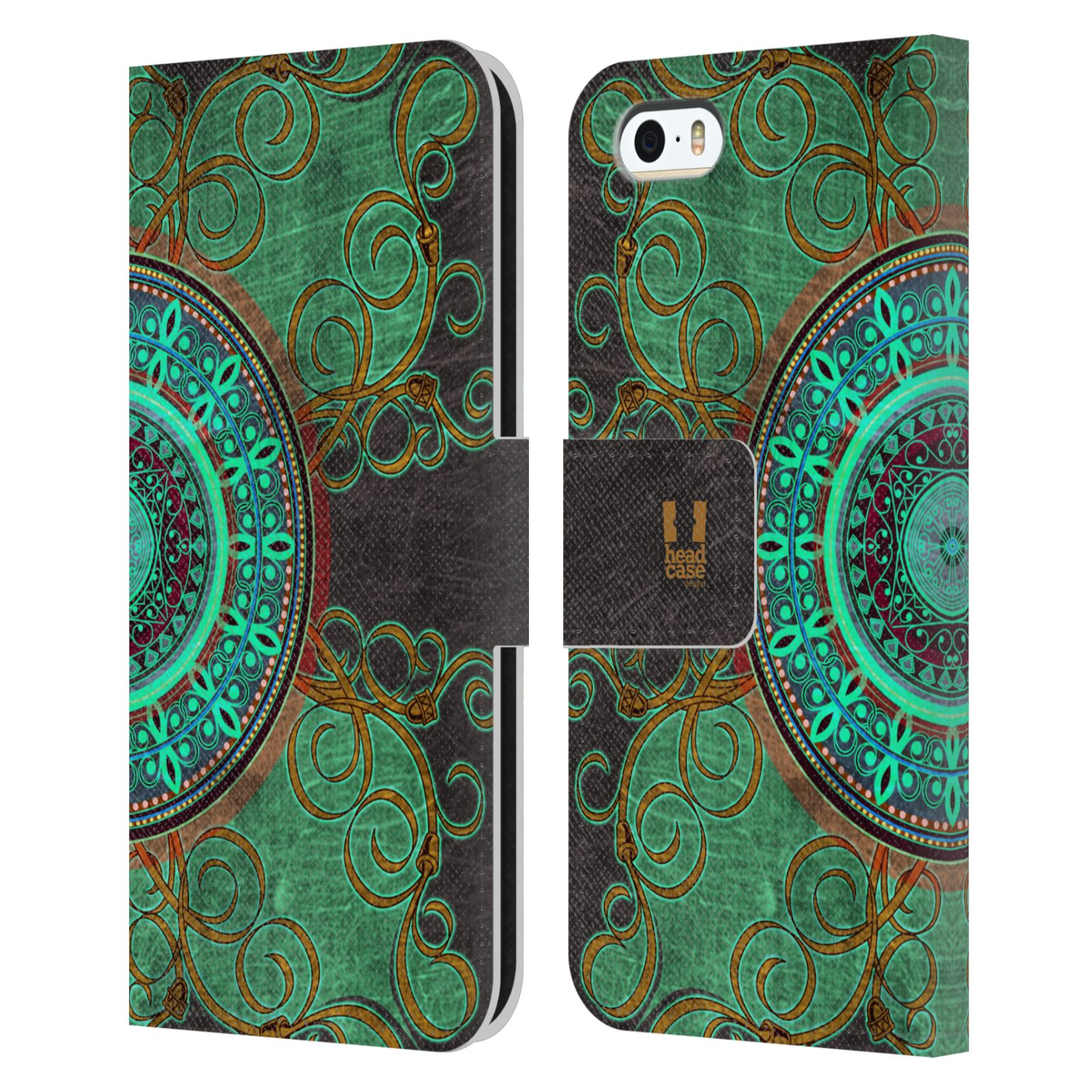HEAD CASE Flipové pouzdro pro mobil Apple Iphone 5/5s ARABESKA mandala zelená