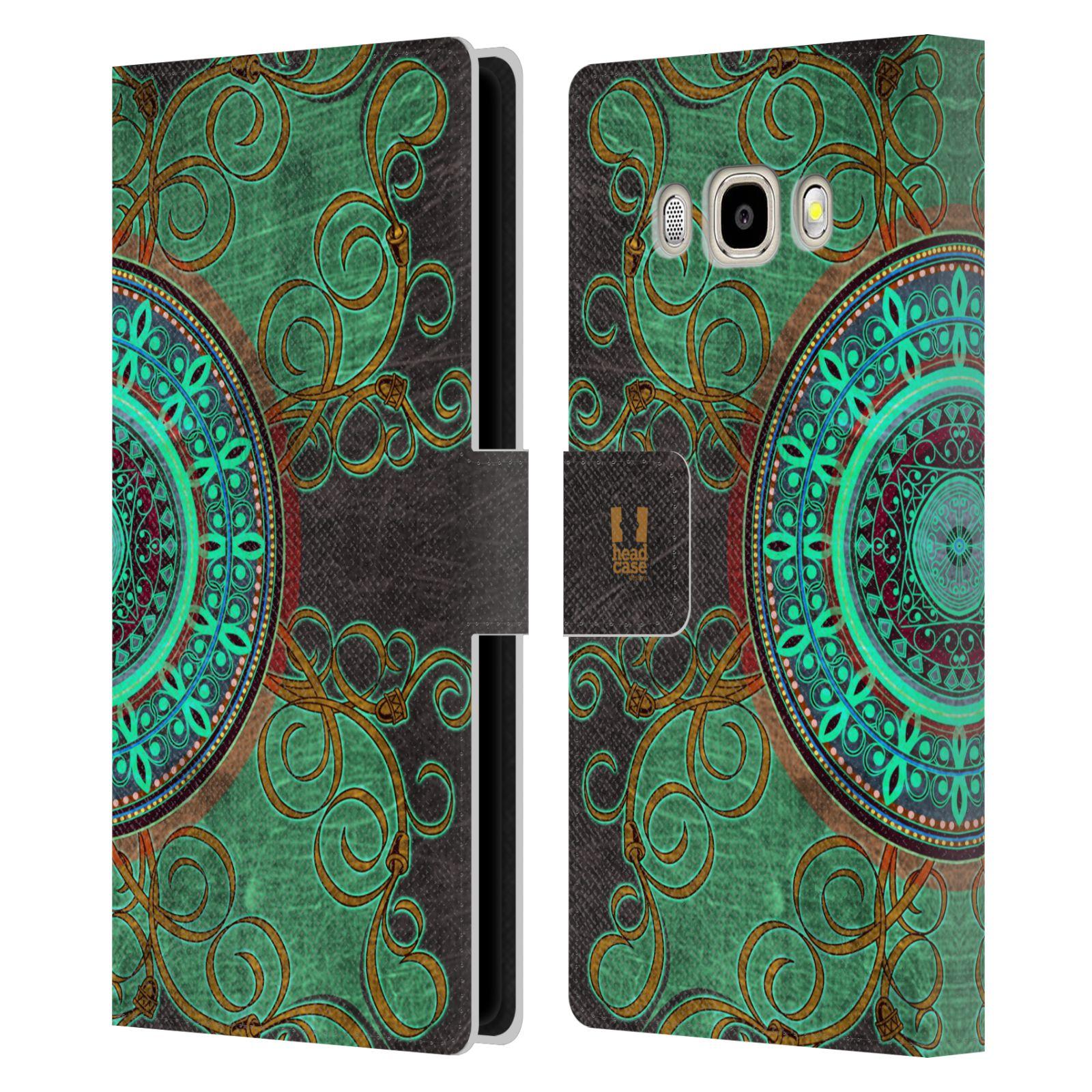 HEAD CASE Flipové pouzdro pro mobil Samsung Galaxy J5 2016 ARABESKA mandala zelená