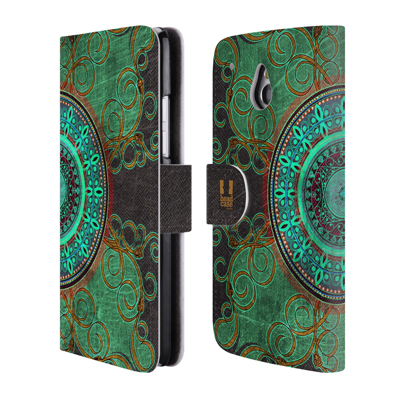 HEAD CASE Flipové pouzdro pro mobil HTC ONE MINI (M4) ARABESKA mandala zelená