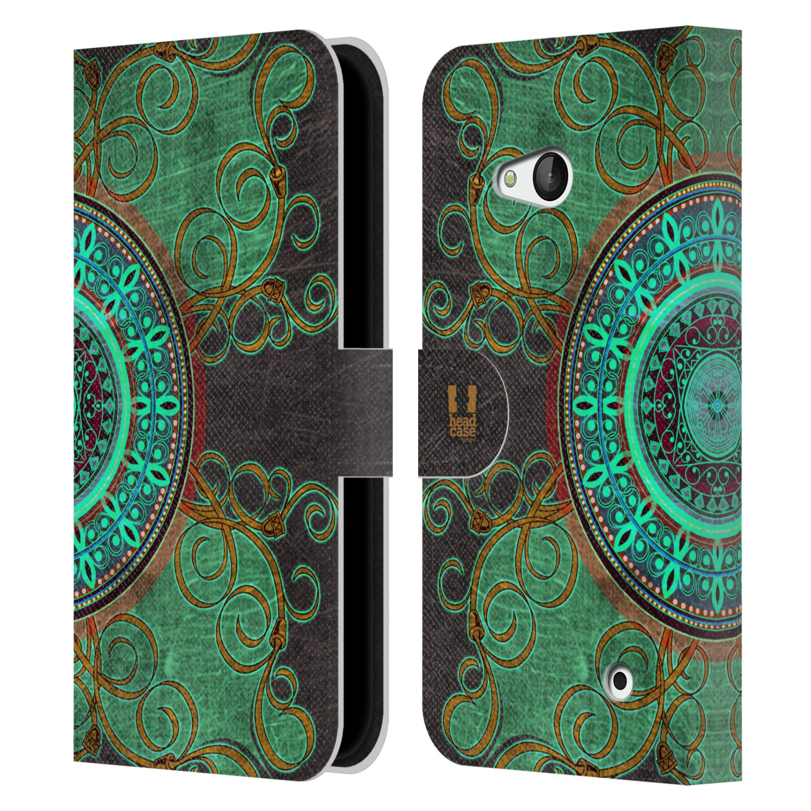 HEAD CASE Flipové pouzdro pro mobil NOKIA / MICROSOFT LUMIA 640 / LUMIA 640 DUAL ARABESKA mandala zelená