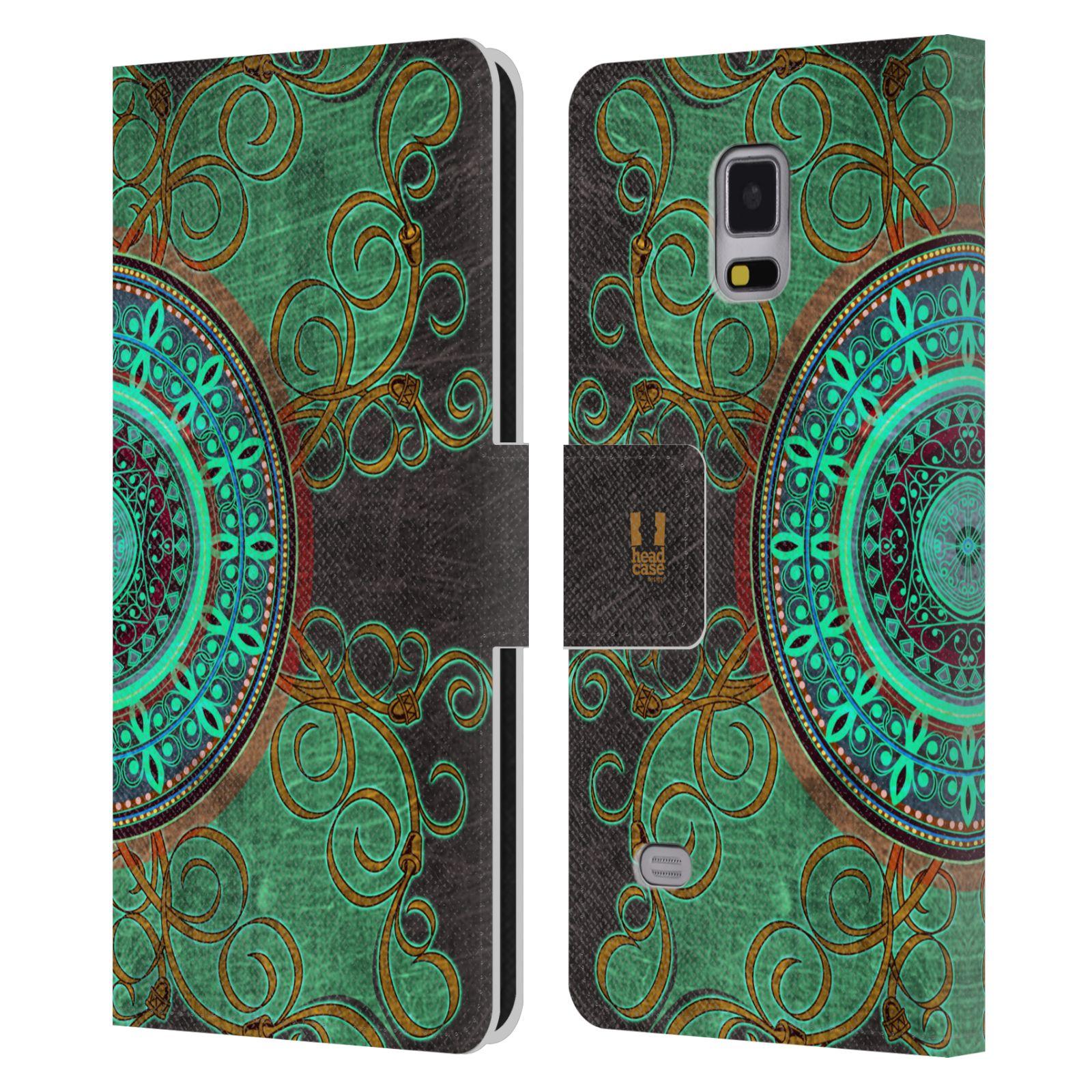 HEAD CASE Flipové pouzdro pro mobil Samsung Galaxy Note 4 ARABESKA mandala zelená
