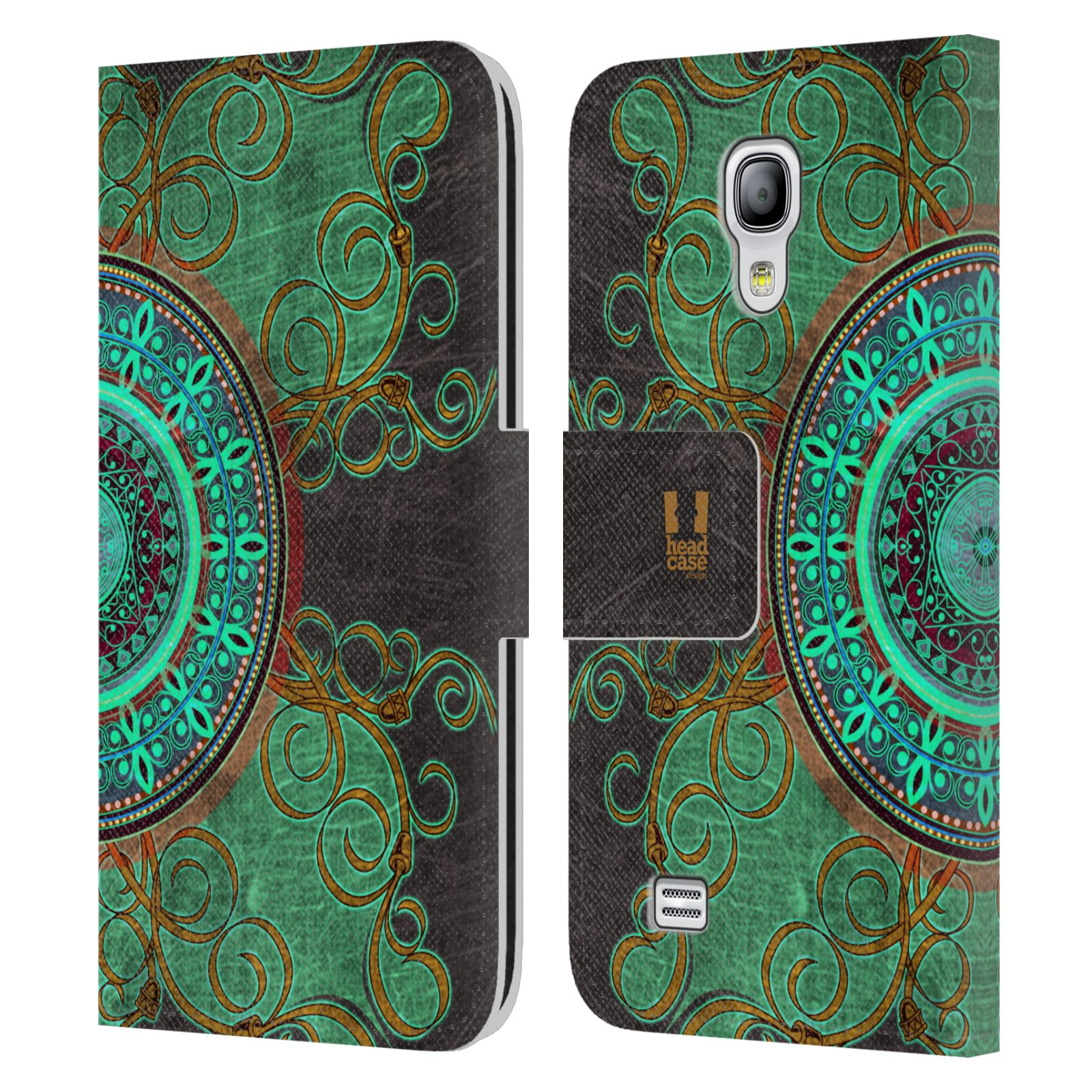HEAD CASE Flipové pouzdro pro mobil Samsung Galaxy S4 MINI / S4 MINI DUOS ARABESKA mandala zelená