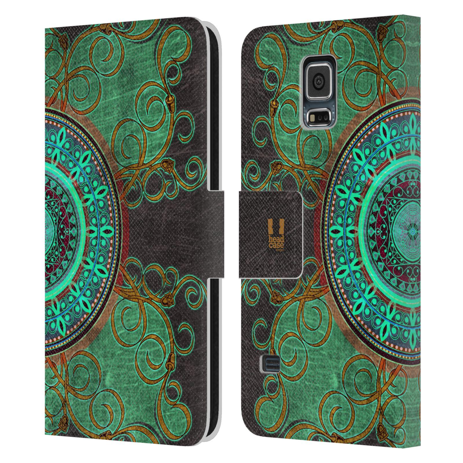 HEAD CASE Flipové pouzdro pro mobil Samsung Galaxy S5 / S5 NEO ARABESKA mandala zelená
