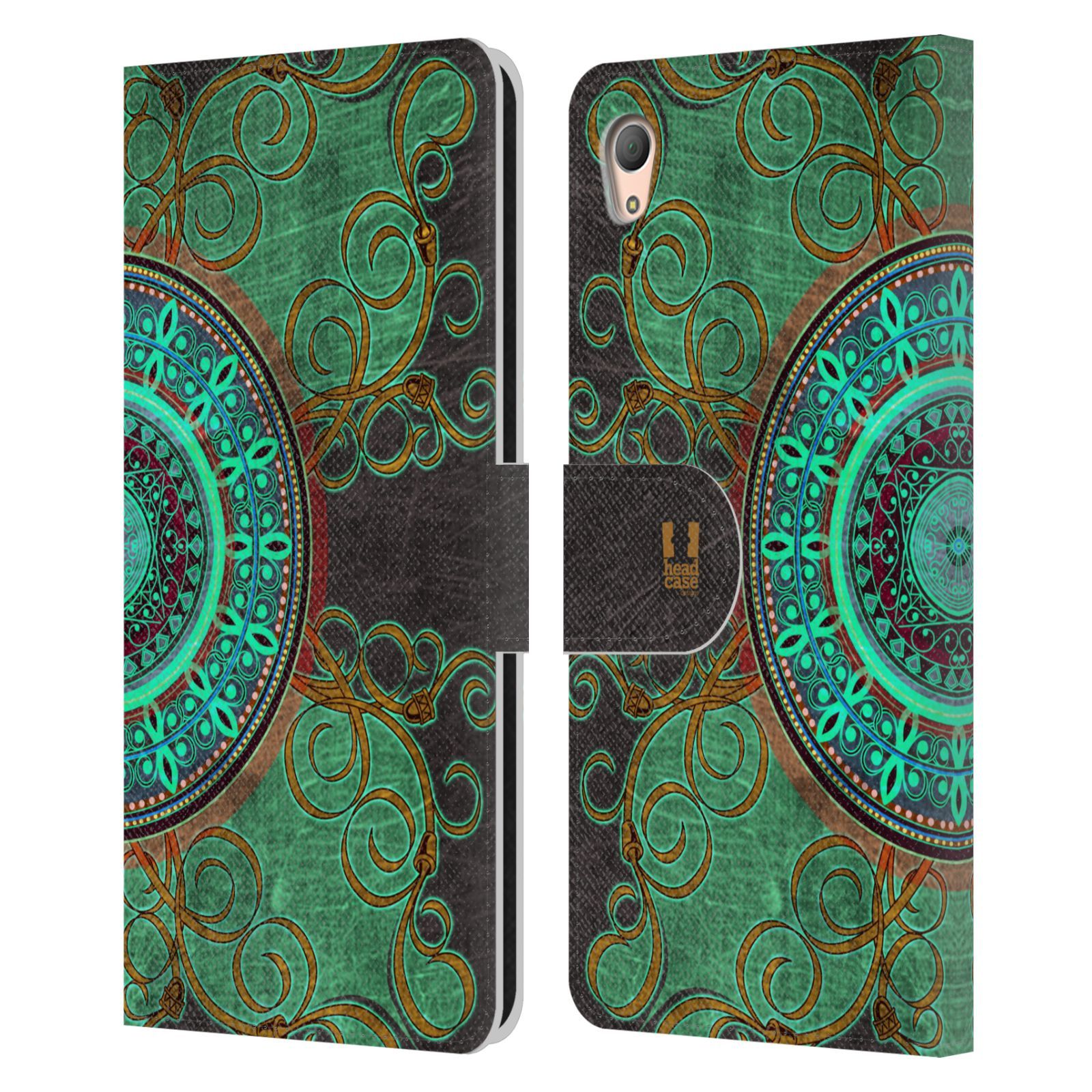 HEAD CASE Flipové pouzdro pro mobil SONY XPERIA Z3+ (PLUS) ARABESKA mandala zelená