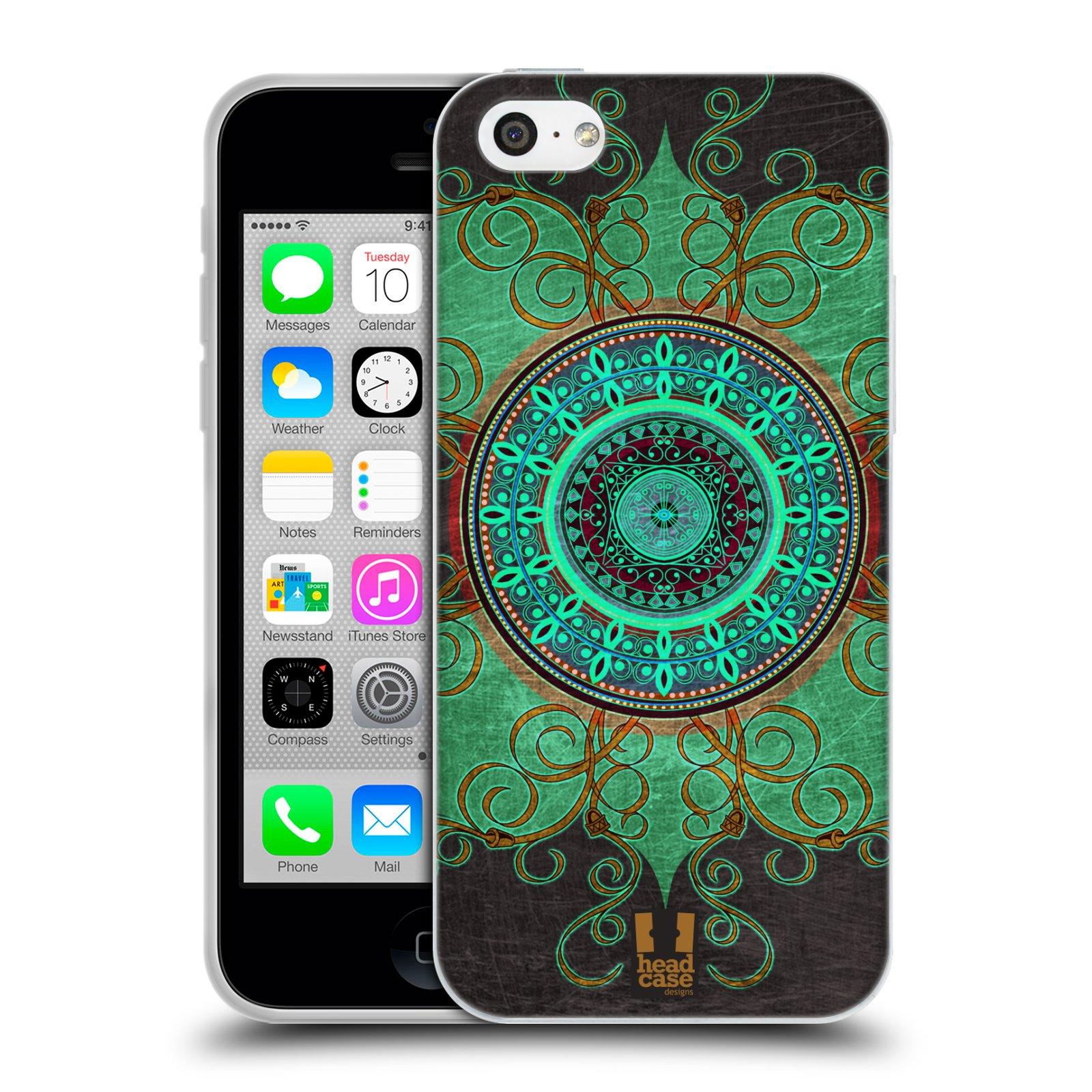 HEAD CASE silikonový obal na mobil Apple Iphone 5C vzor ARABESKA MANDALA ZELENÁ