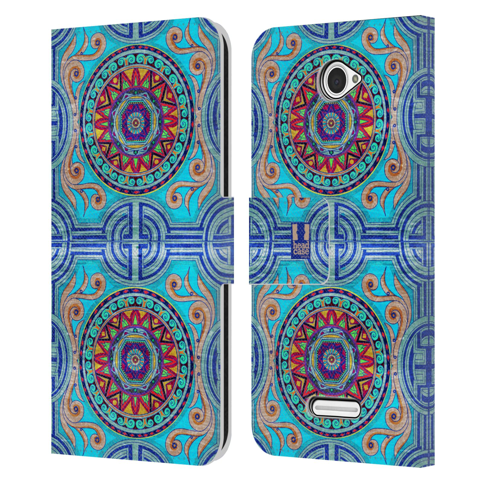 HEAD CASE Flipové pouzdro pro mobil SONY XPERIA E4 ARABESKA modrá