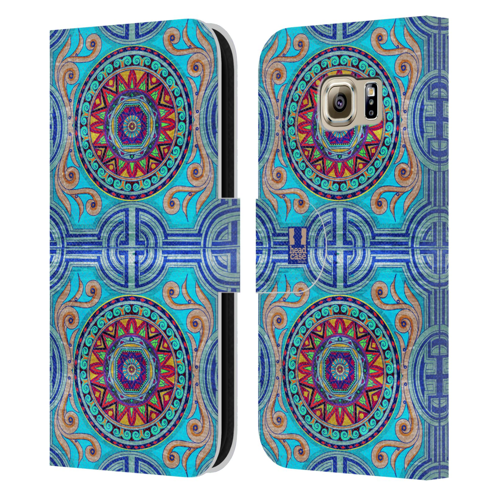 HEAD CASE Flipové pouzdro pro mobil Samsung Galaxy S6 (G9200) ARABESKA modrá