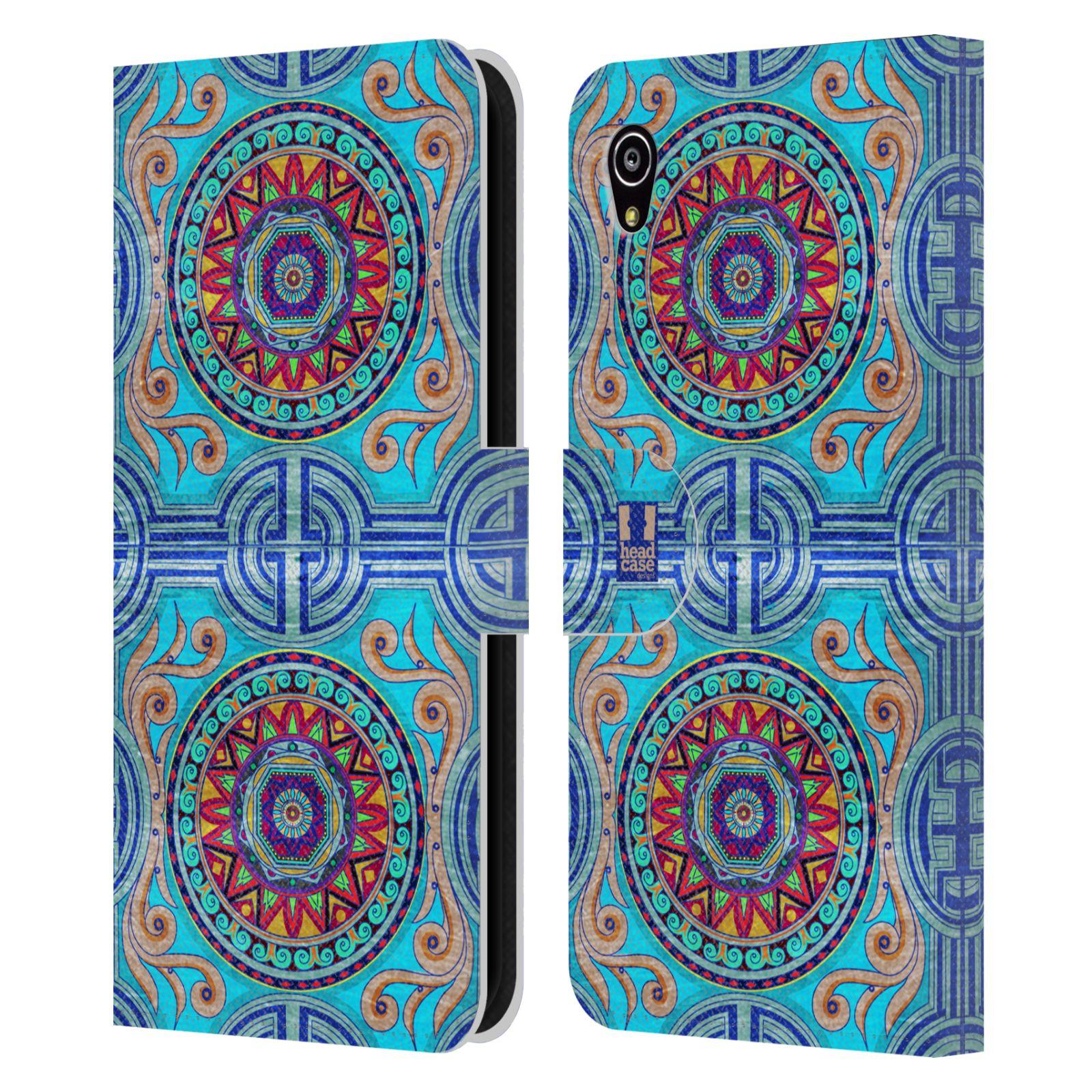 HEAD CASE Flipové pouzdro pro mobil SONY XPERIA M4 AQUA ARABESKA modrá