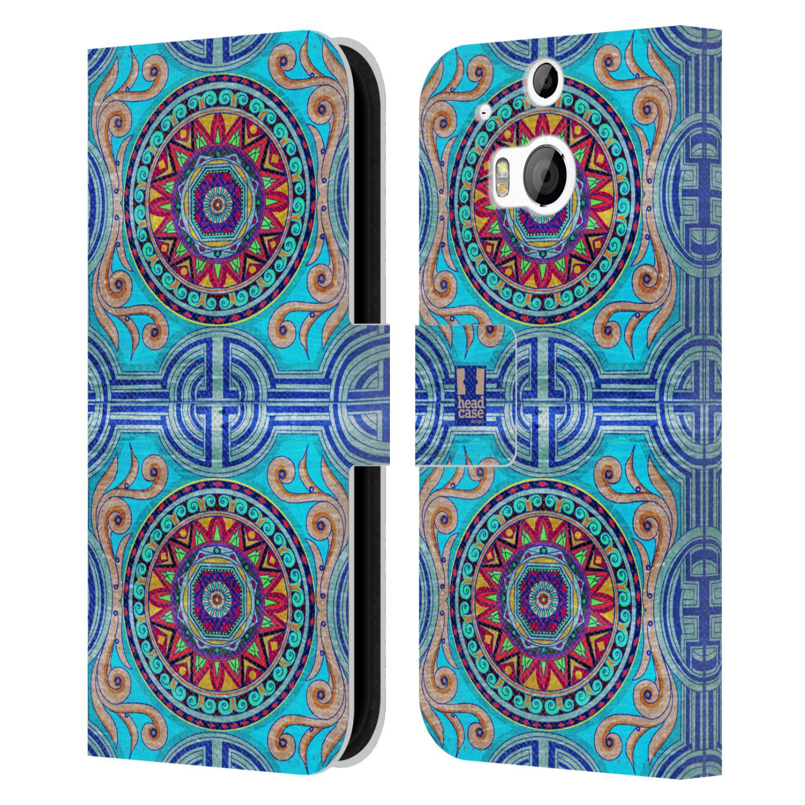 HEAD CASE Flipové pouzdro pro mobil HTC ONE (M8, M8s) ARABESKA modrá