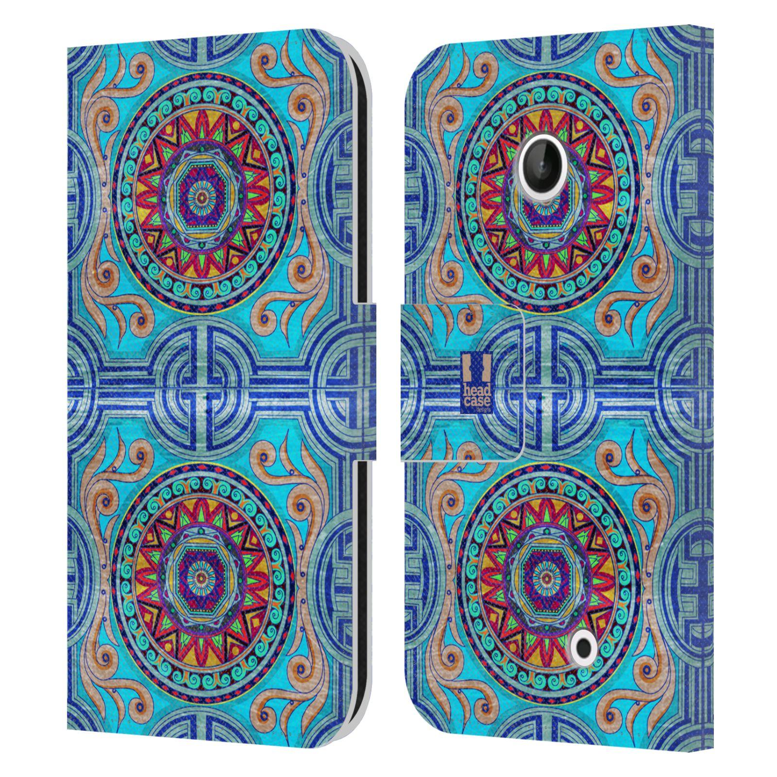 HEAD CASE Flipové pouzdro pro mobil NOKIA LUMIA 630 / LUMIA 630 DUAL ARABESKA modrá